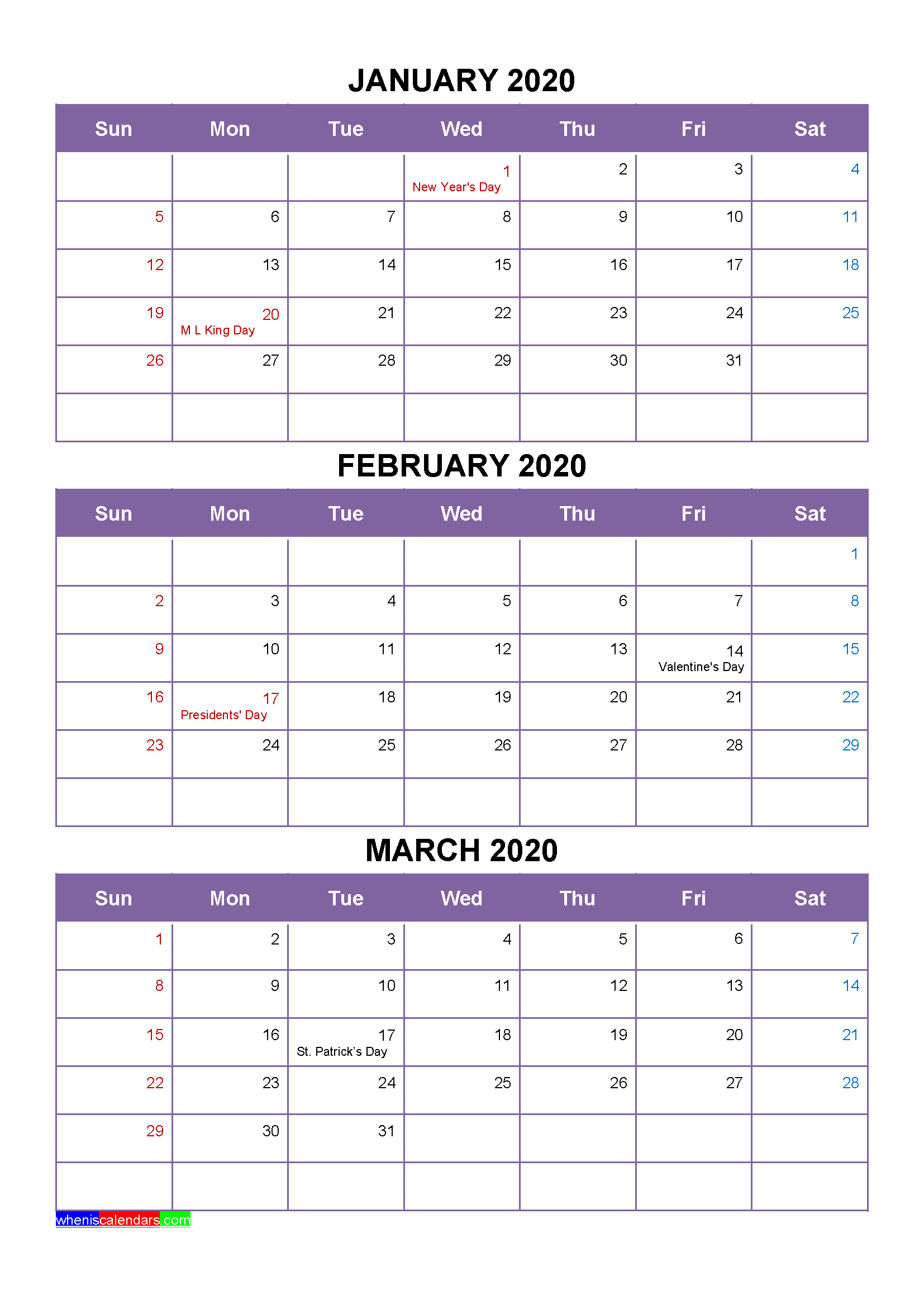 Free January February March 2020 Printable Calendar Template
