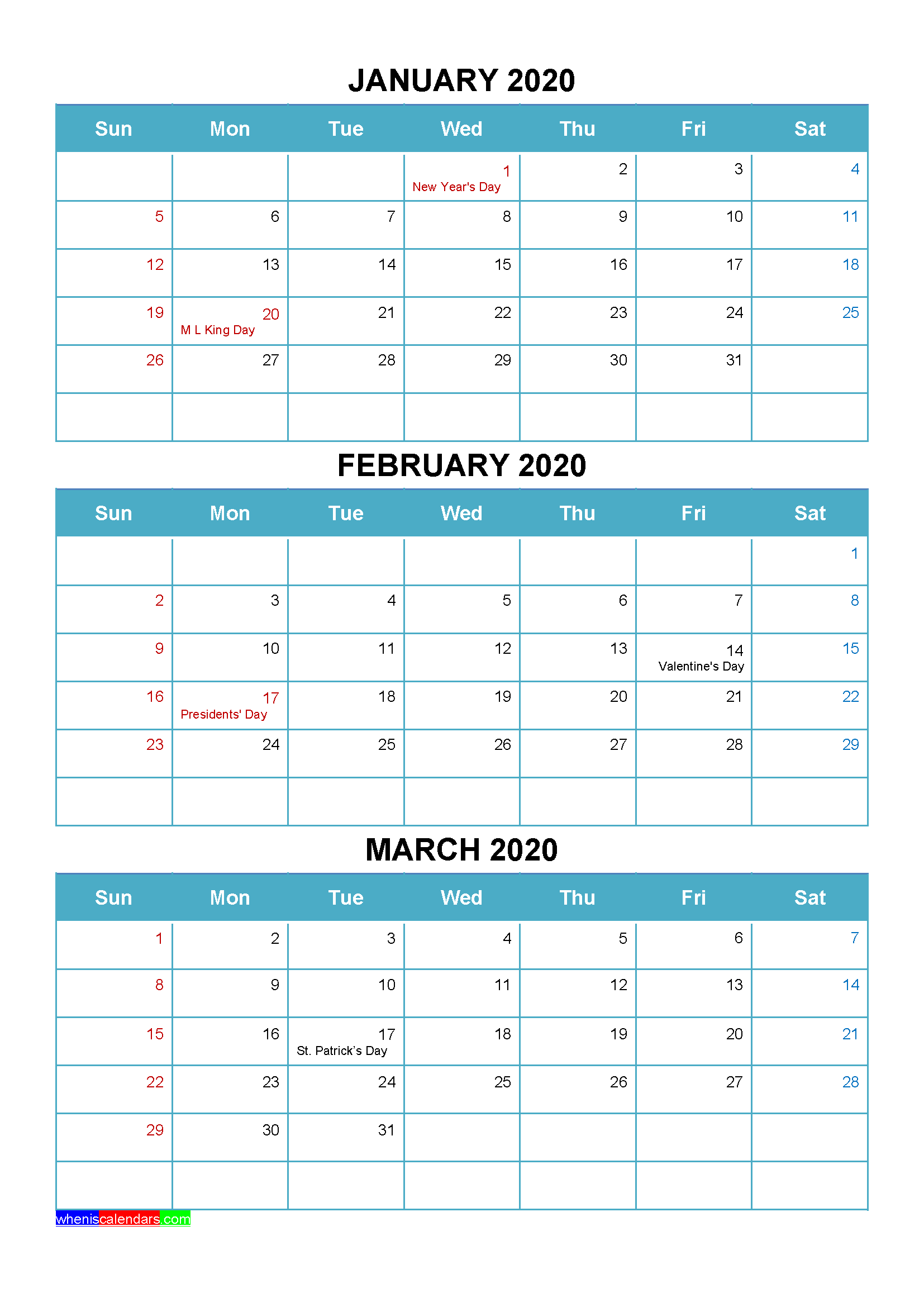 Printable January February March 2020 Calendar Word, PDF ...