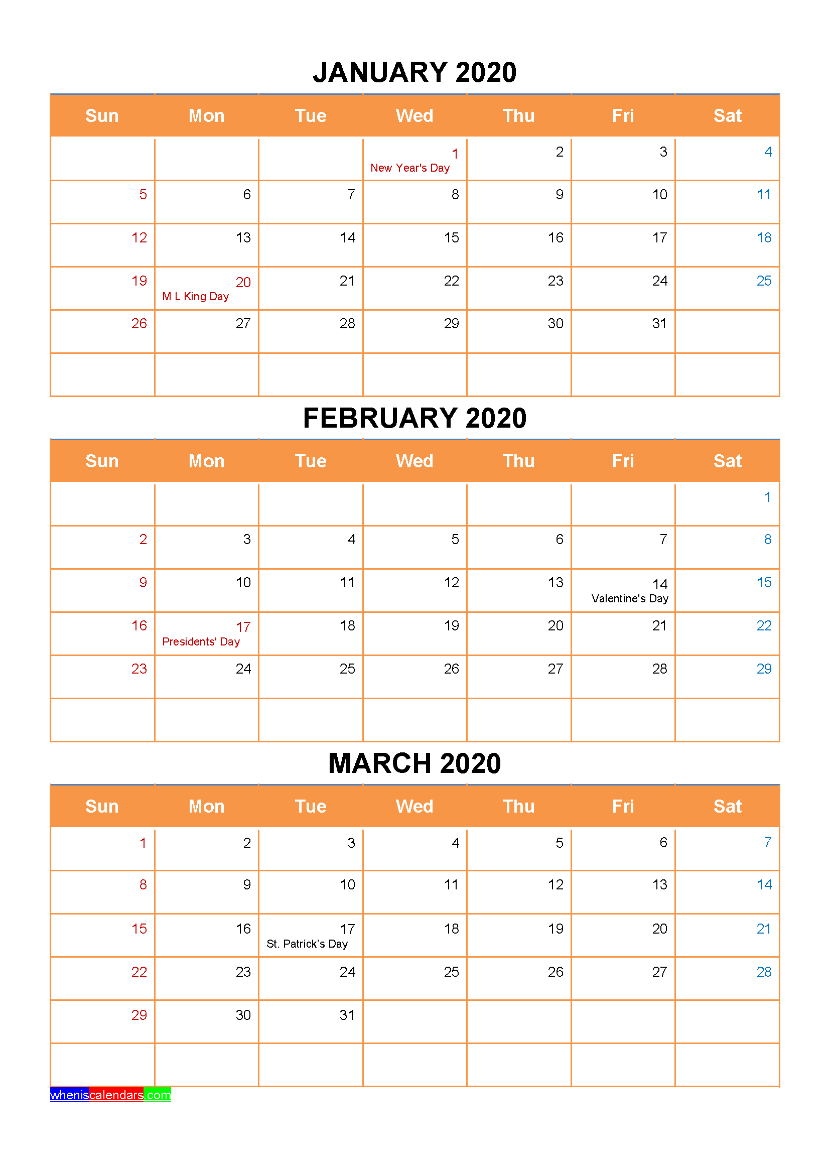 January February March 2020 Calendar with Holidays Word, PDF