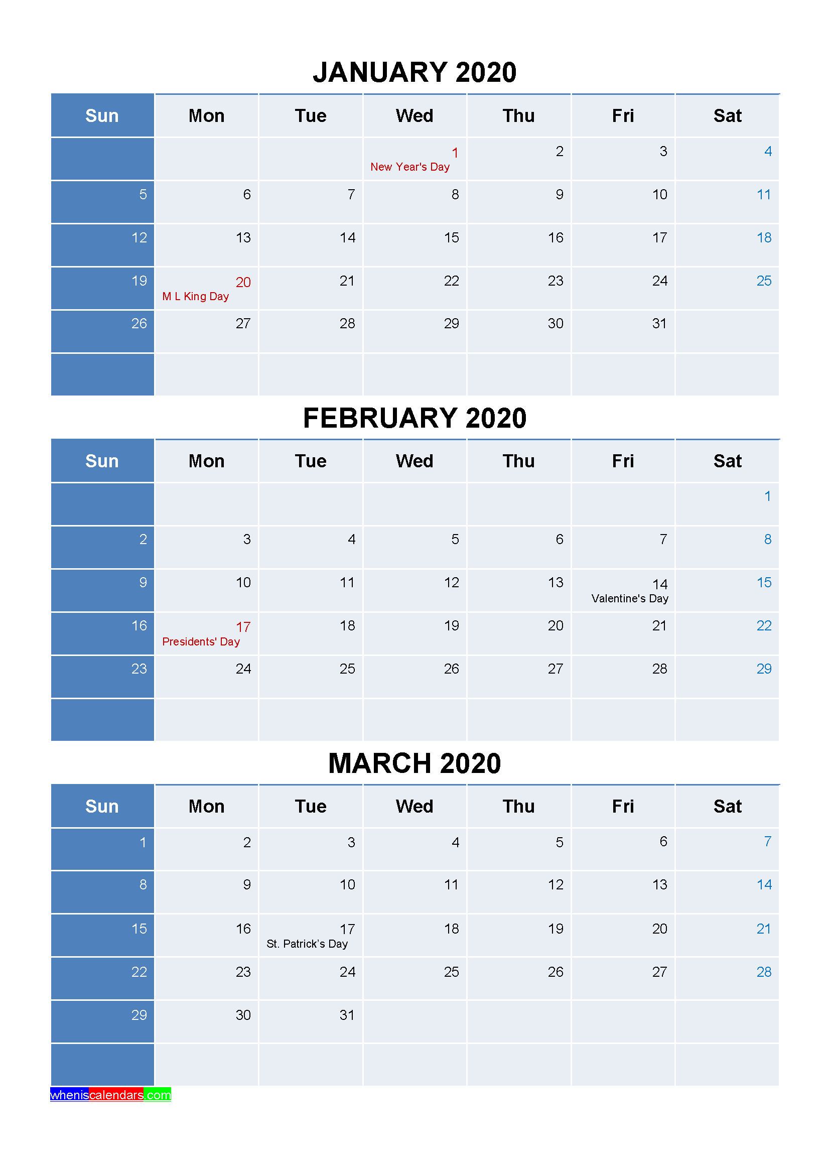 Free January February March 2020 Calendar with Holidays