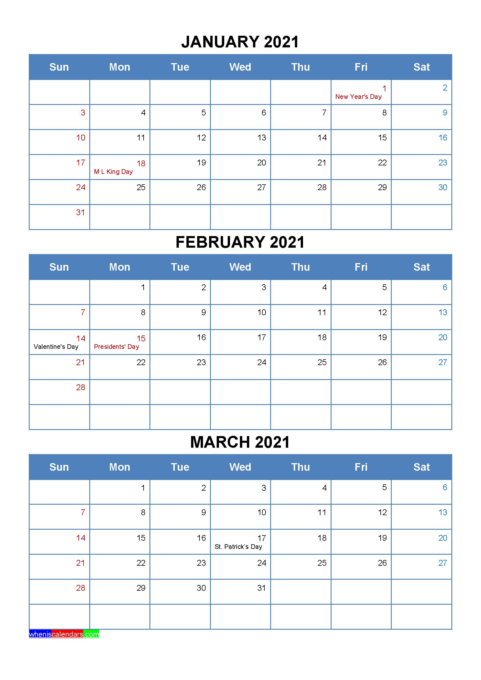 January February March 2021 Calendar with Holidays