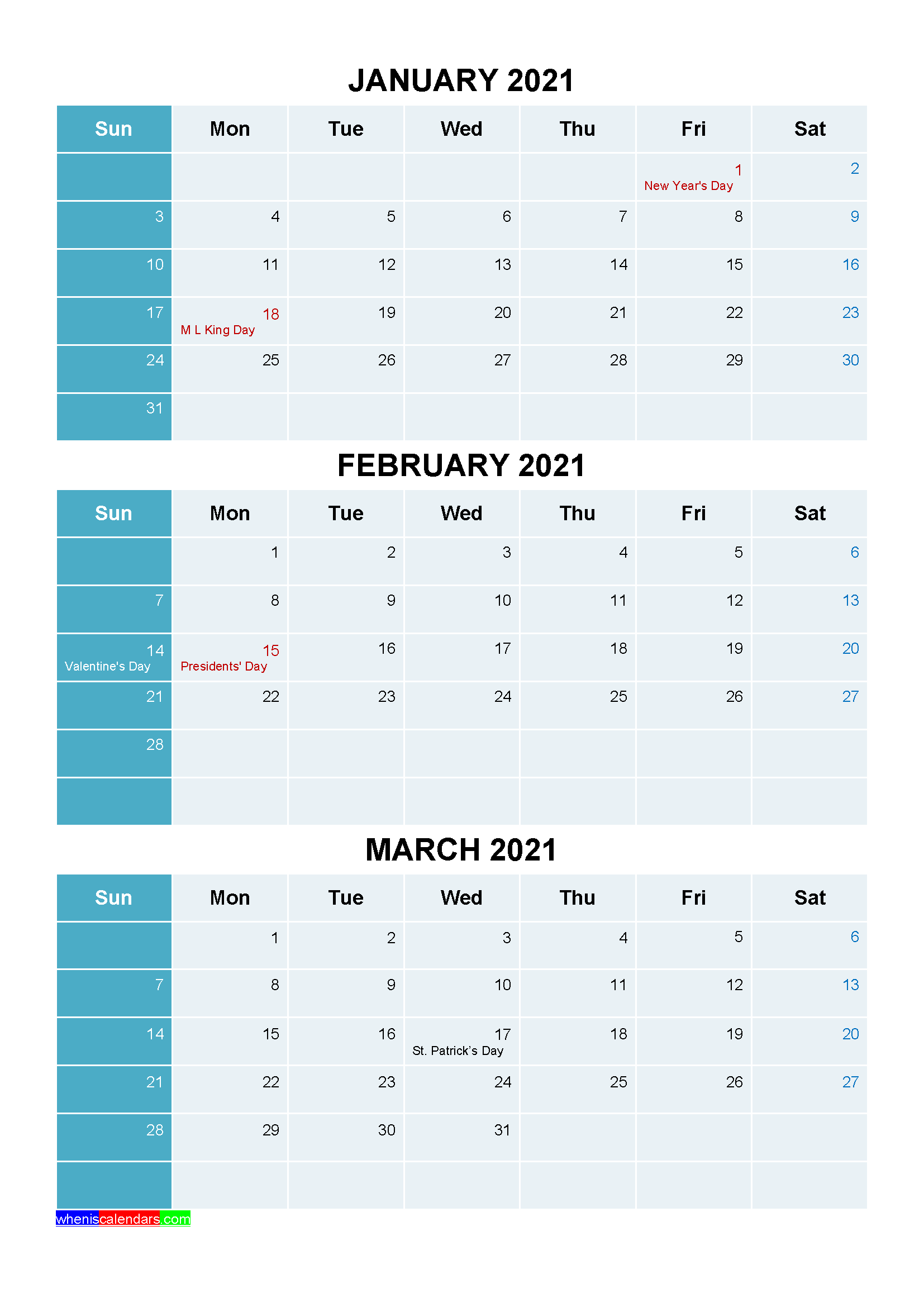 January February March 2021 Calendar with Holidays Printable