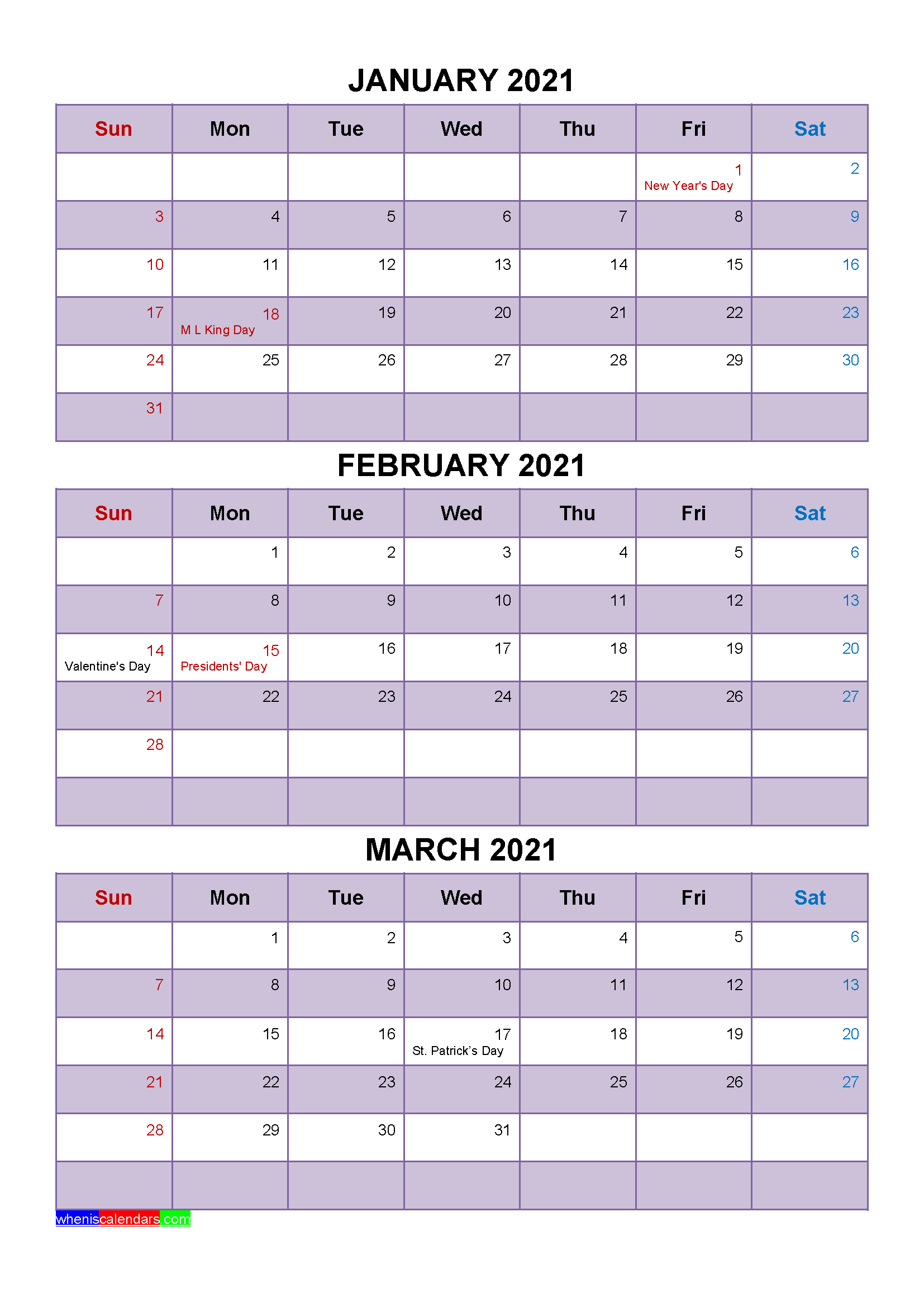Free Printable January February March 2021 Calendar with Holidays as Word, PDF