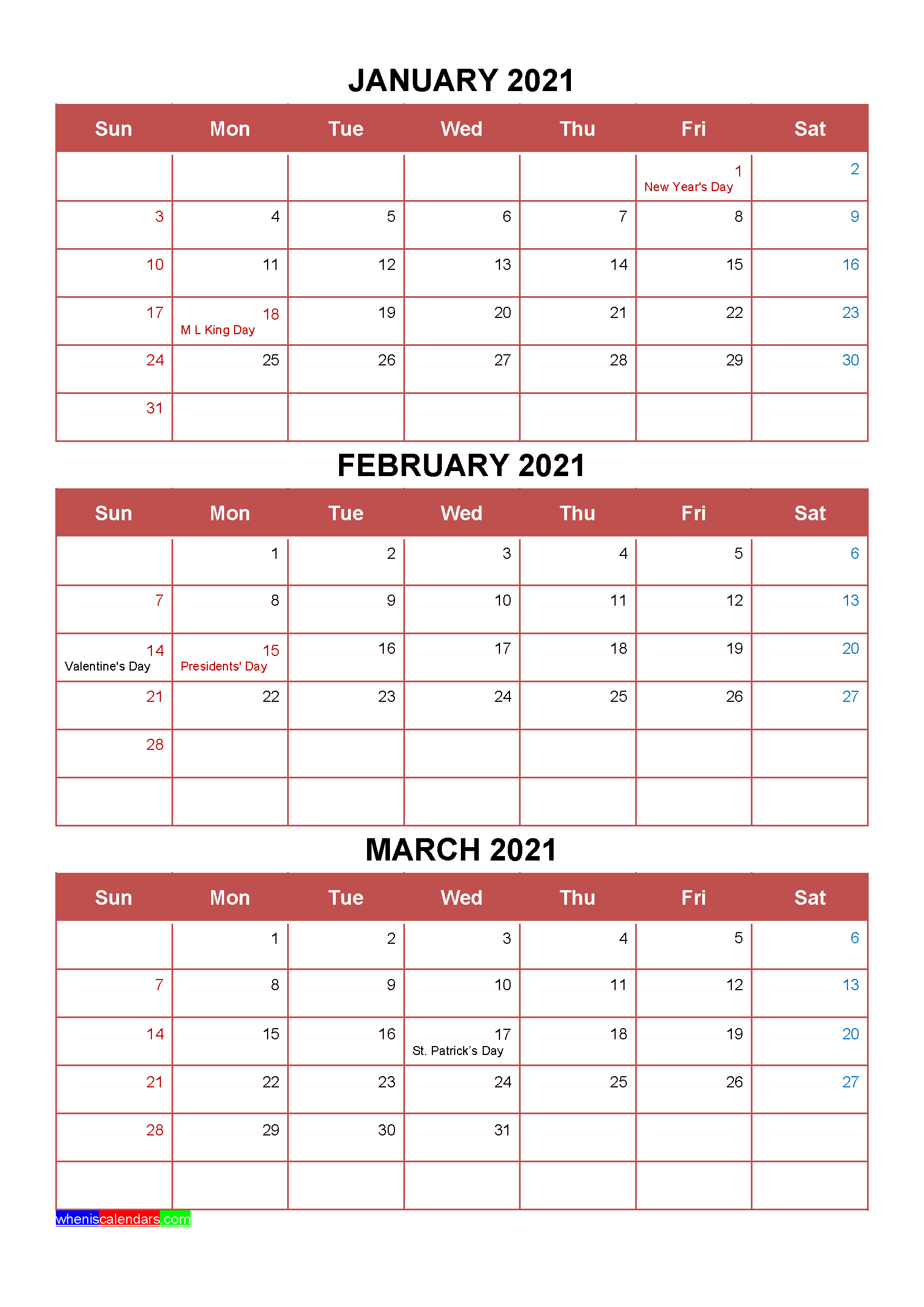 Free January February March 2021 Calendar with Holidays [Four