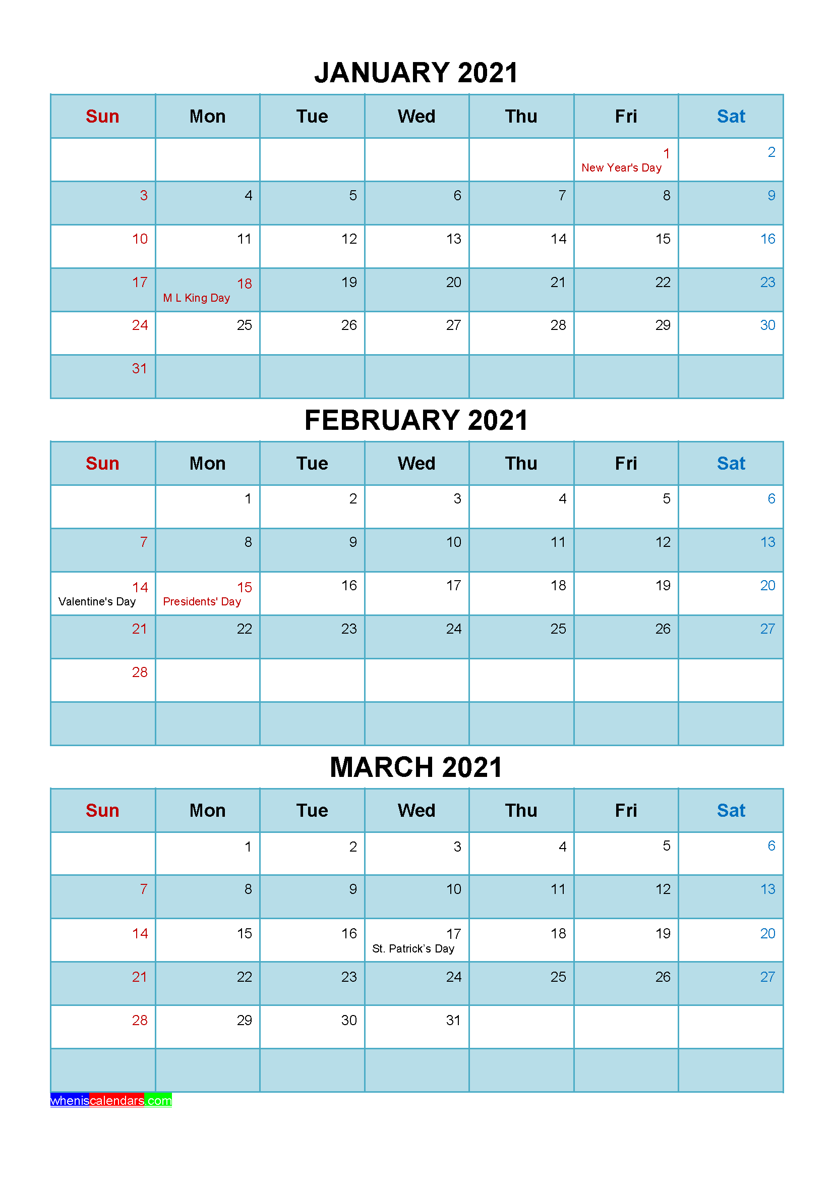 Free January February March 2021 Calendar with Holidays