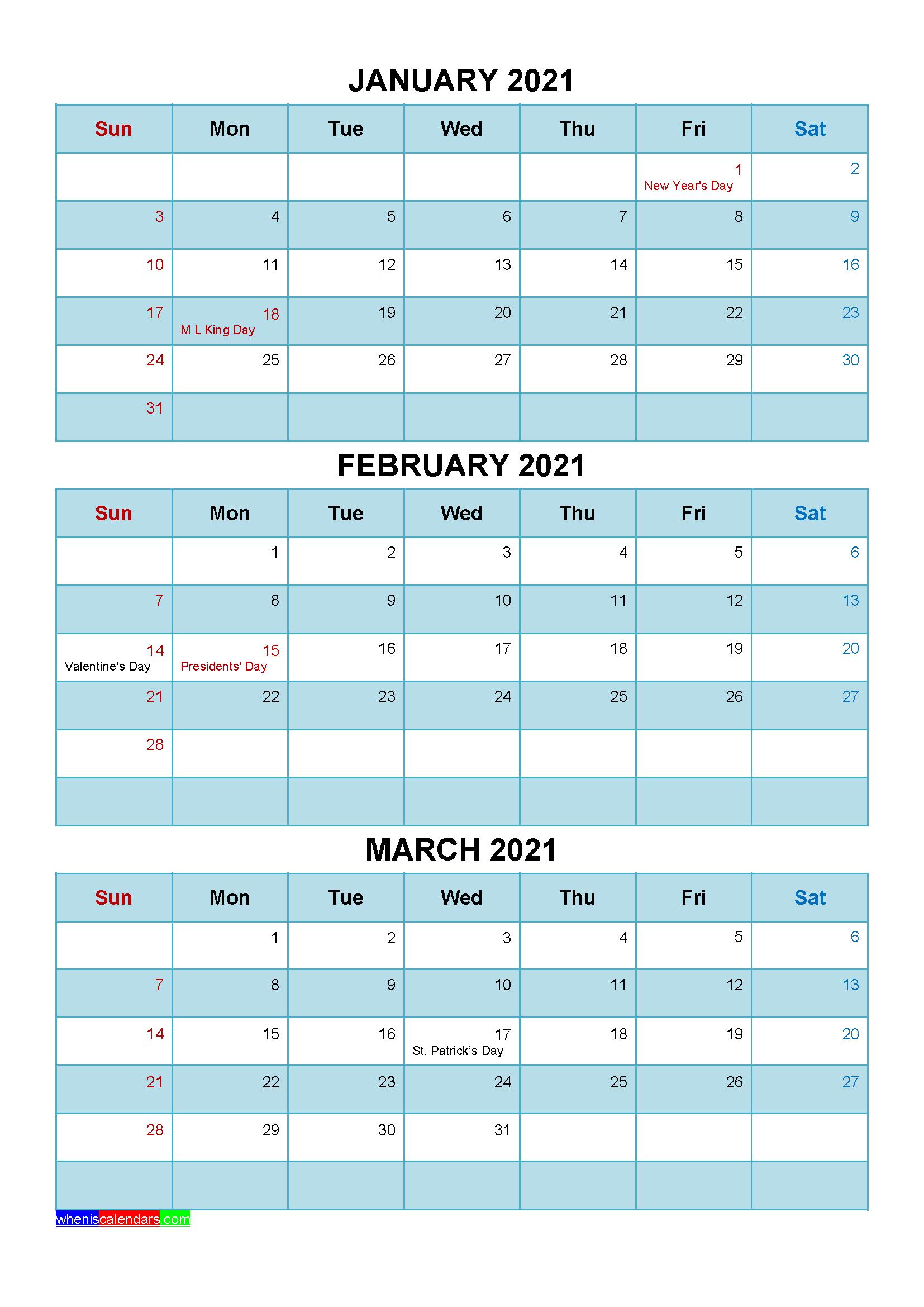 Printable January February March 2021 Calendar Template ...