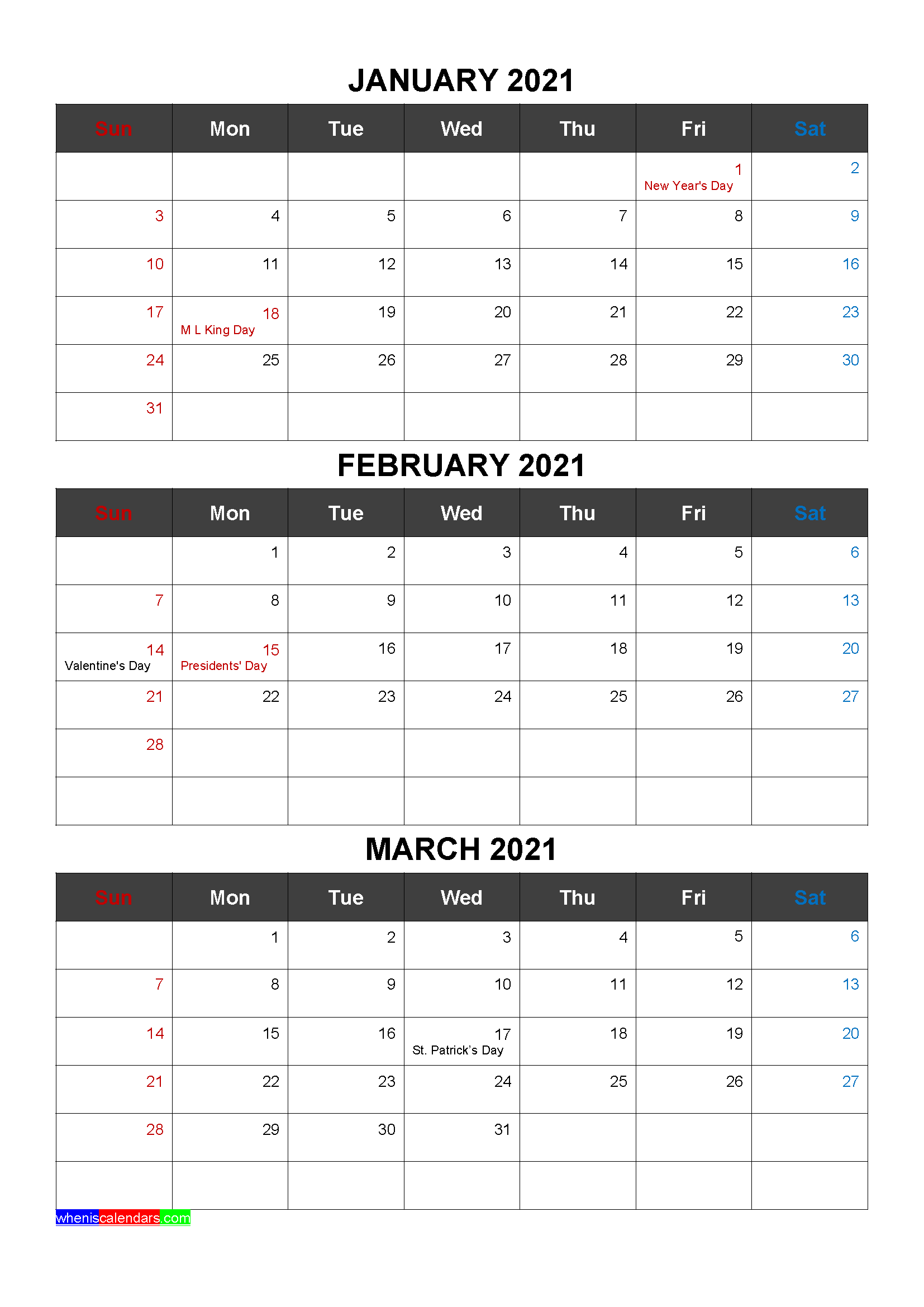 Free Calendar January February March 2021 with Holidays