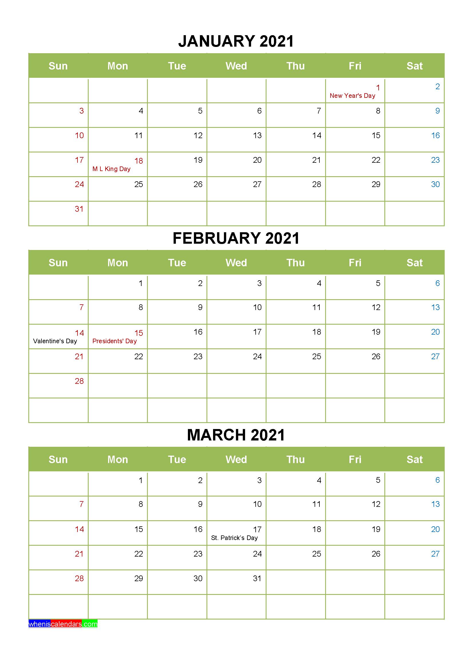 Free Printable January February March 2021 Calendar 3 ...