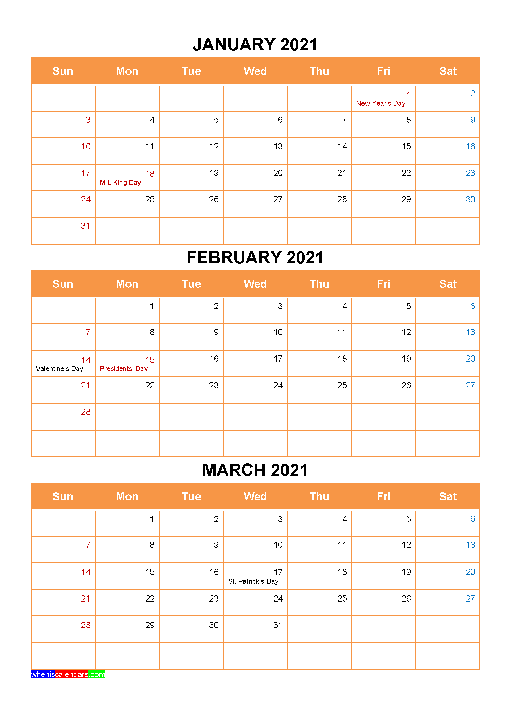 January February March 2021 Calendar with Holidays Printable