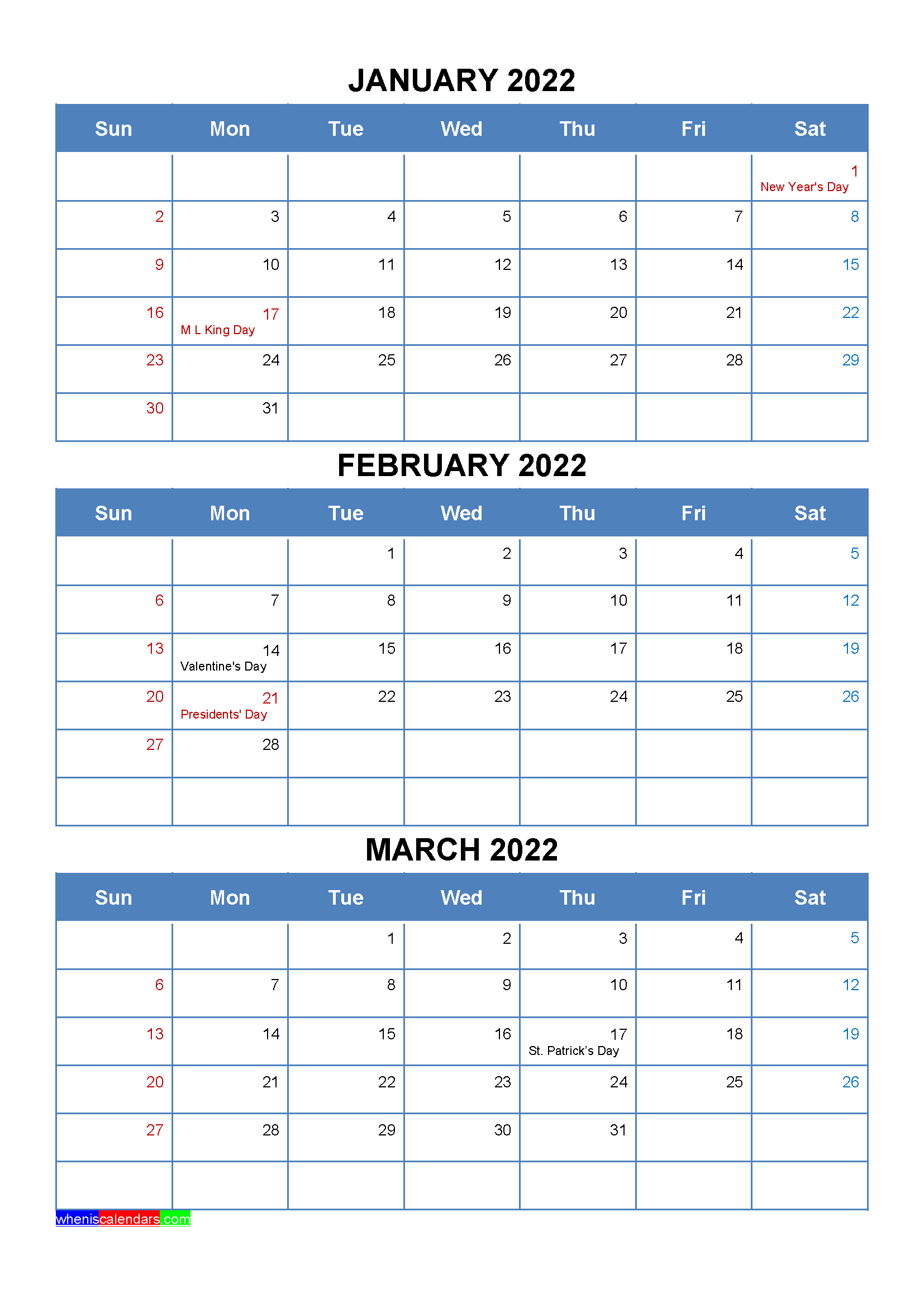 January February March 2022 Calendar with Holidays