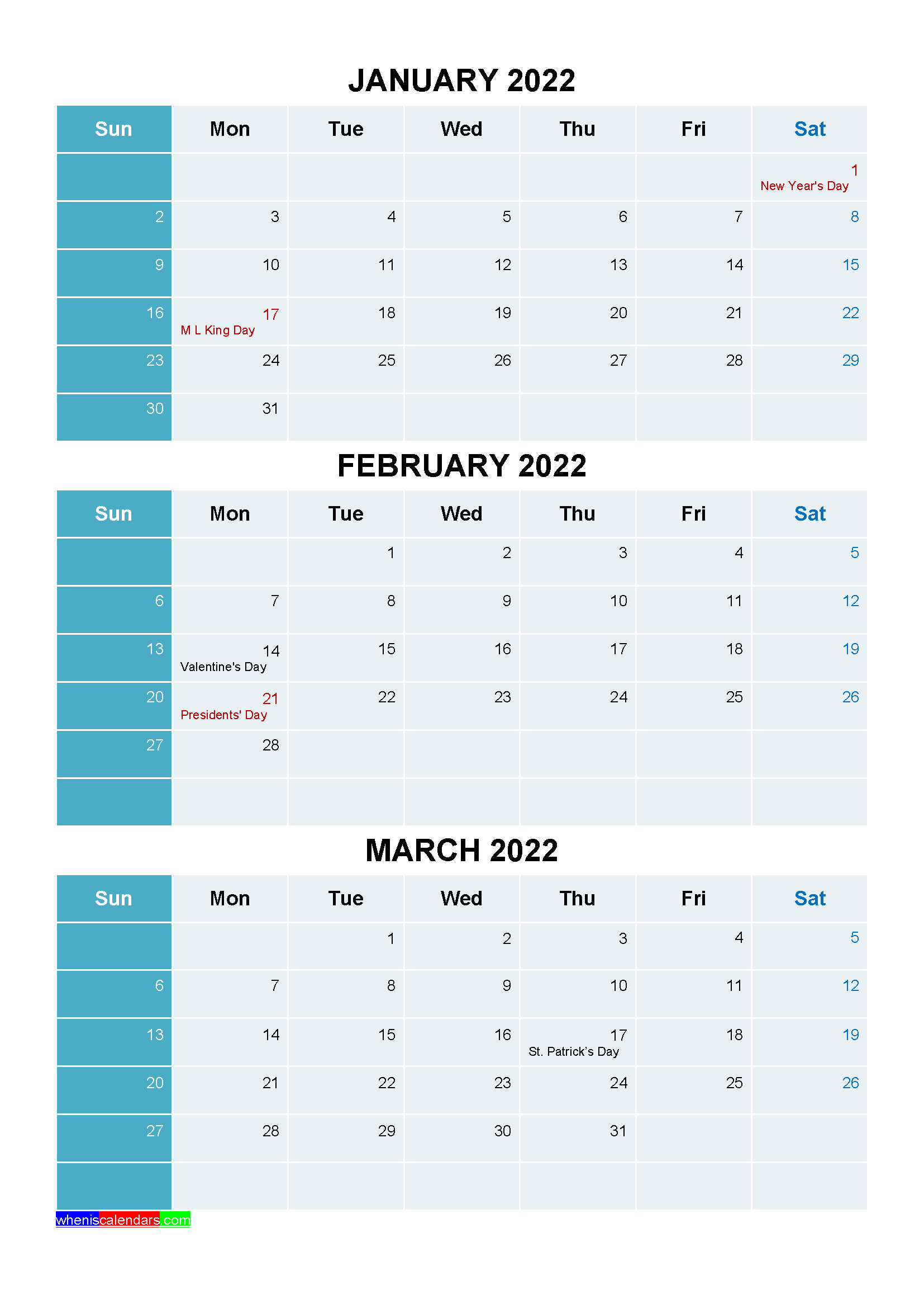 January February March 2022 Calendar with Holidays Printable