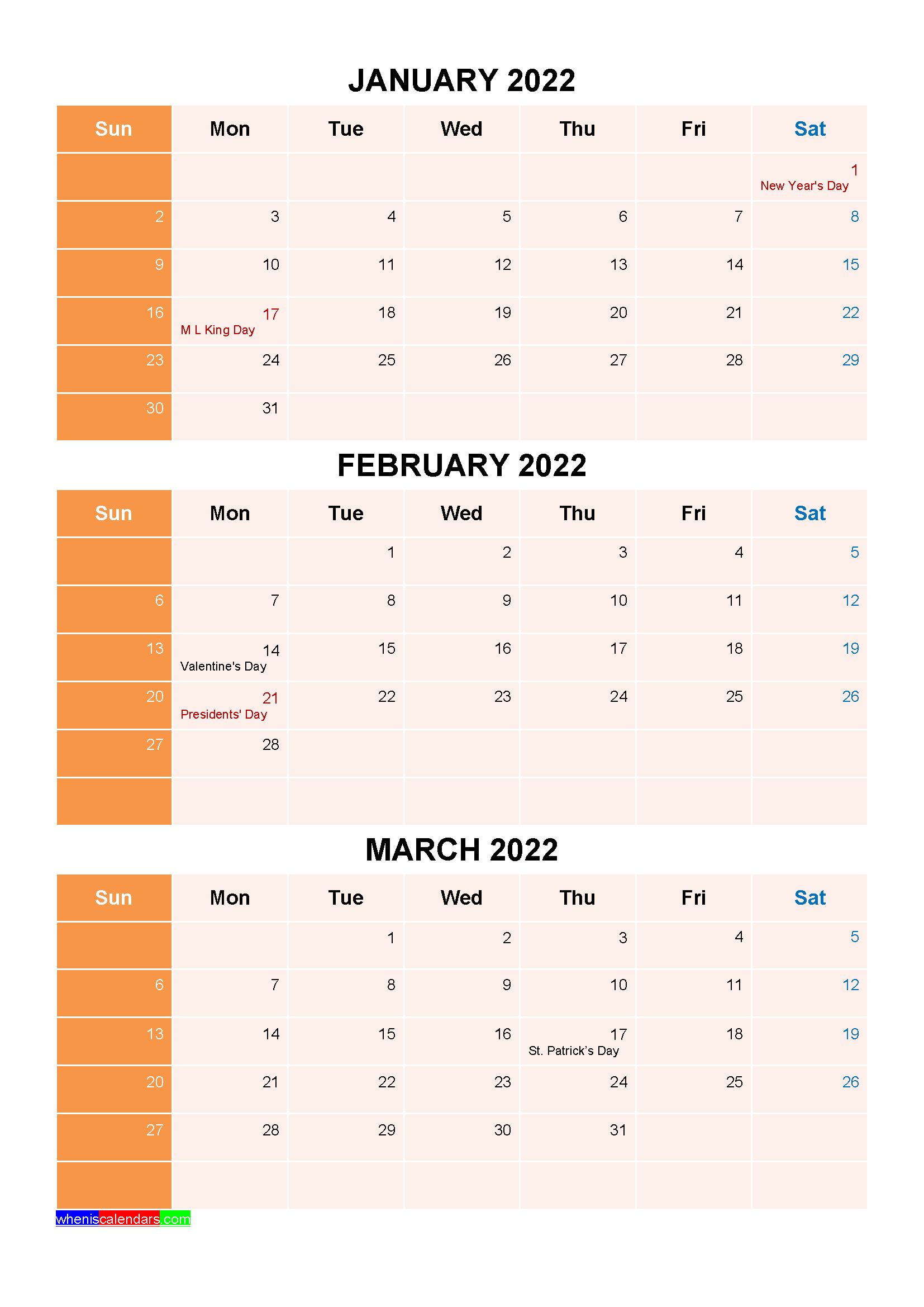 January February March 2022 Calendar with Holidays