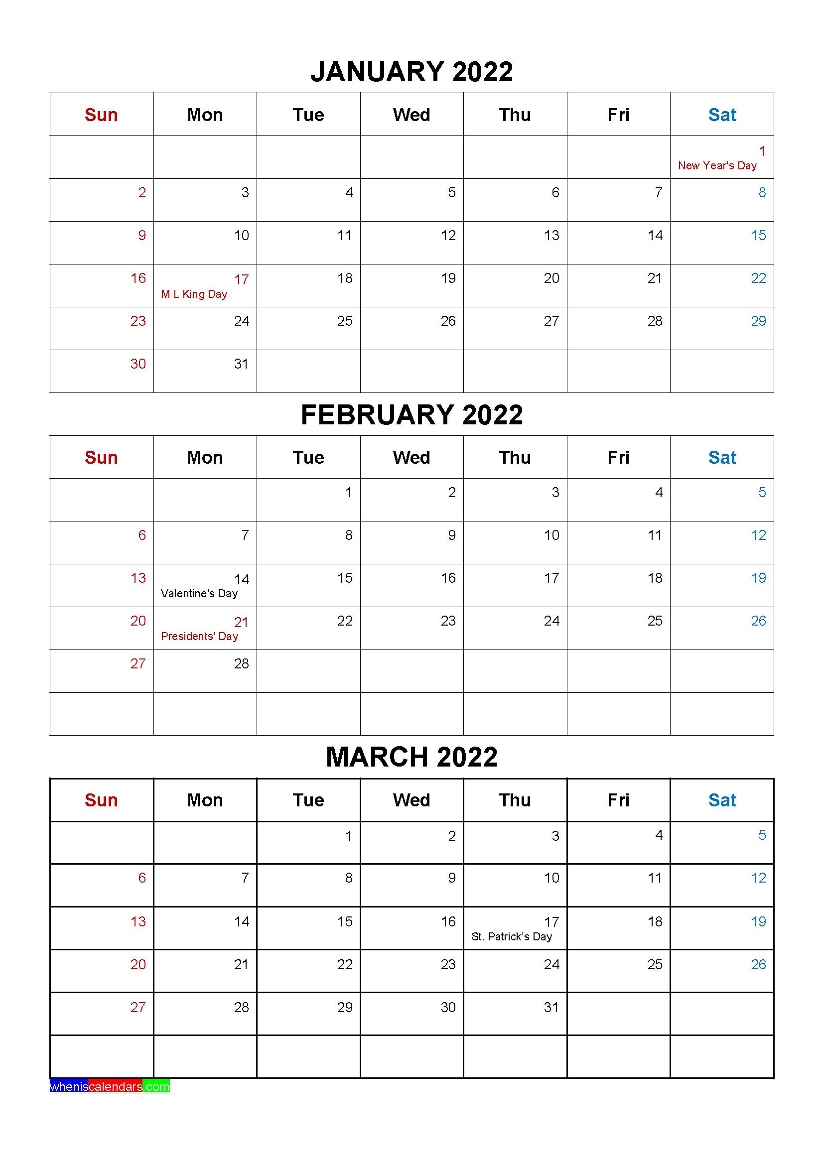 Mar 2022 Calendar.Free January February March 2022 Calendar With Holidays Four Quarters Free Printable 2021 Monthly Calendar With Holidays