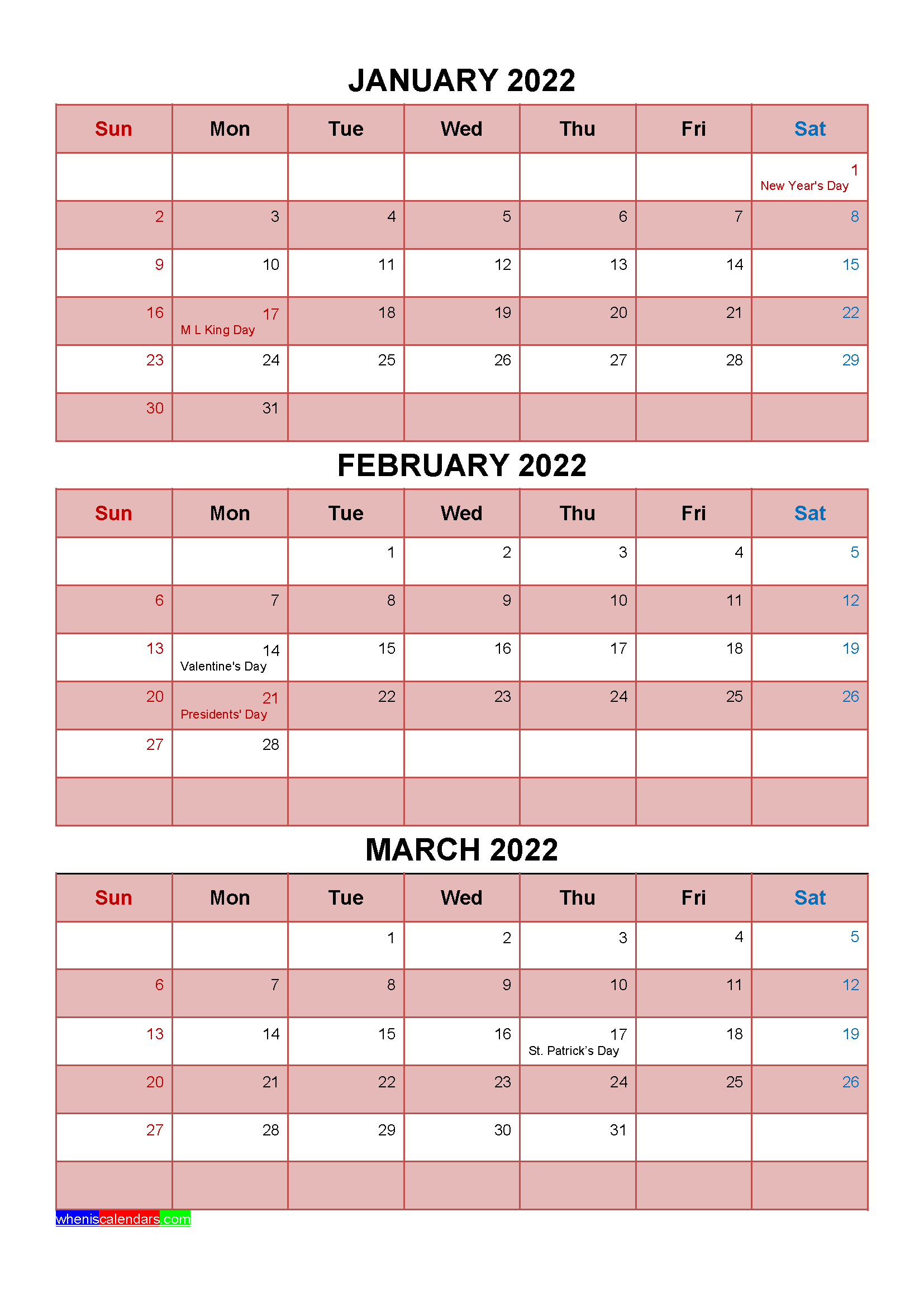 Printable January February March 2022 Calendar with Holidays