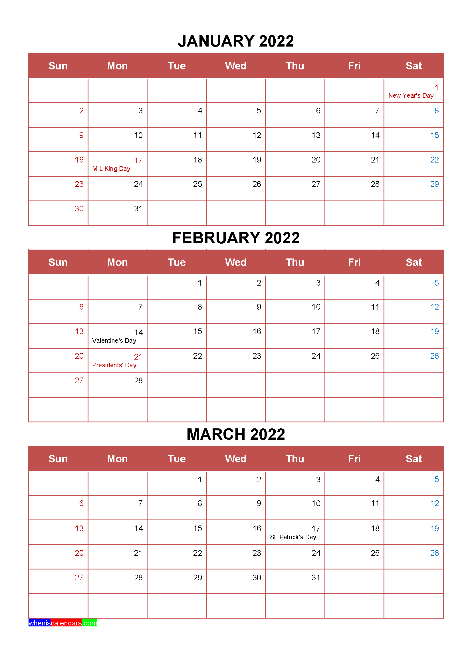 Free January February March 2022 Calendar with Holidays