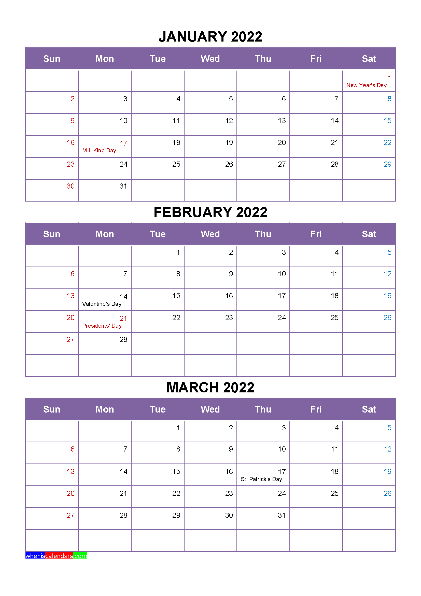 Free Calendar January February March 2022 with Holidays