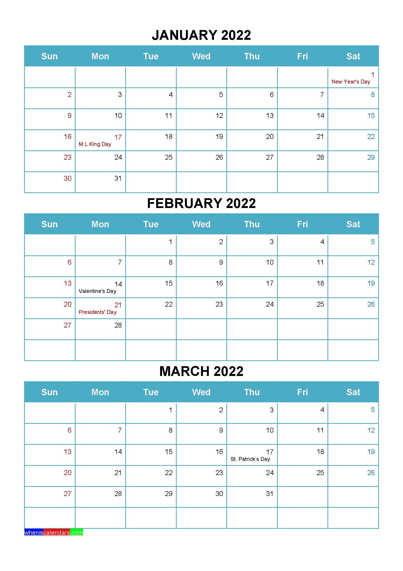 Printable January February March 2022 Calendar with Holidays
