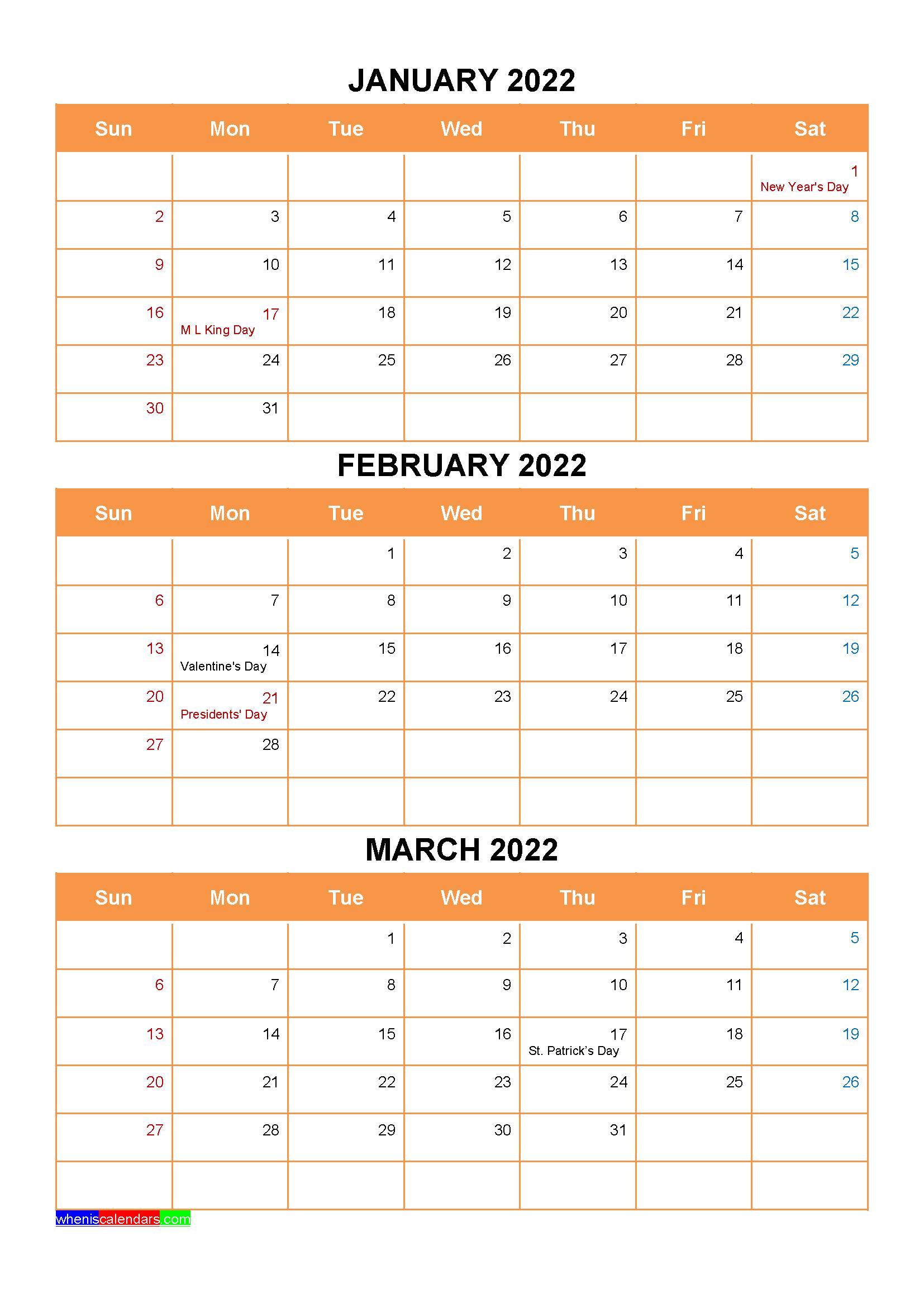 January February March 2022 Calendar with Holidays Printable
