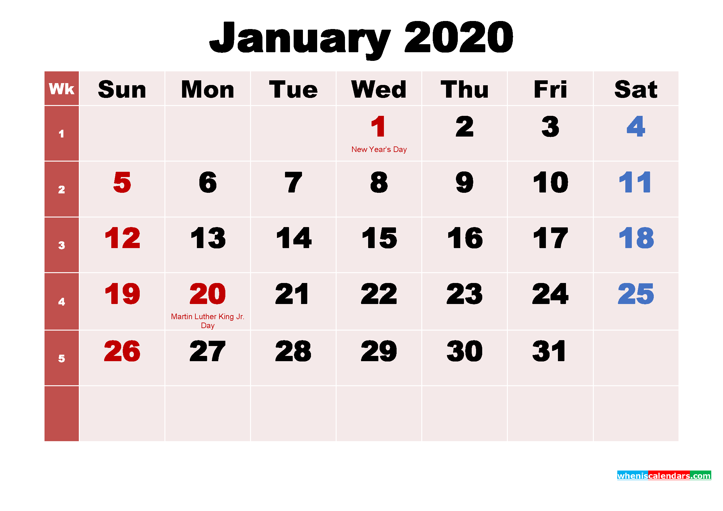 Free Printable 2020 Monthly Calendar with Holidays January