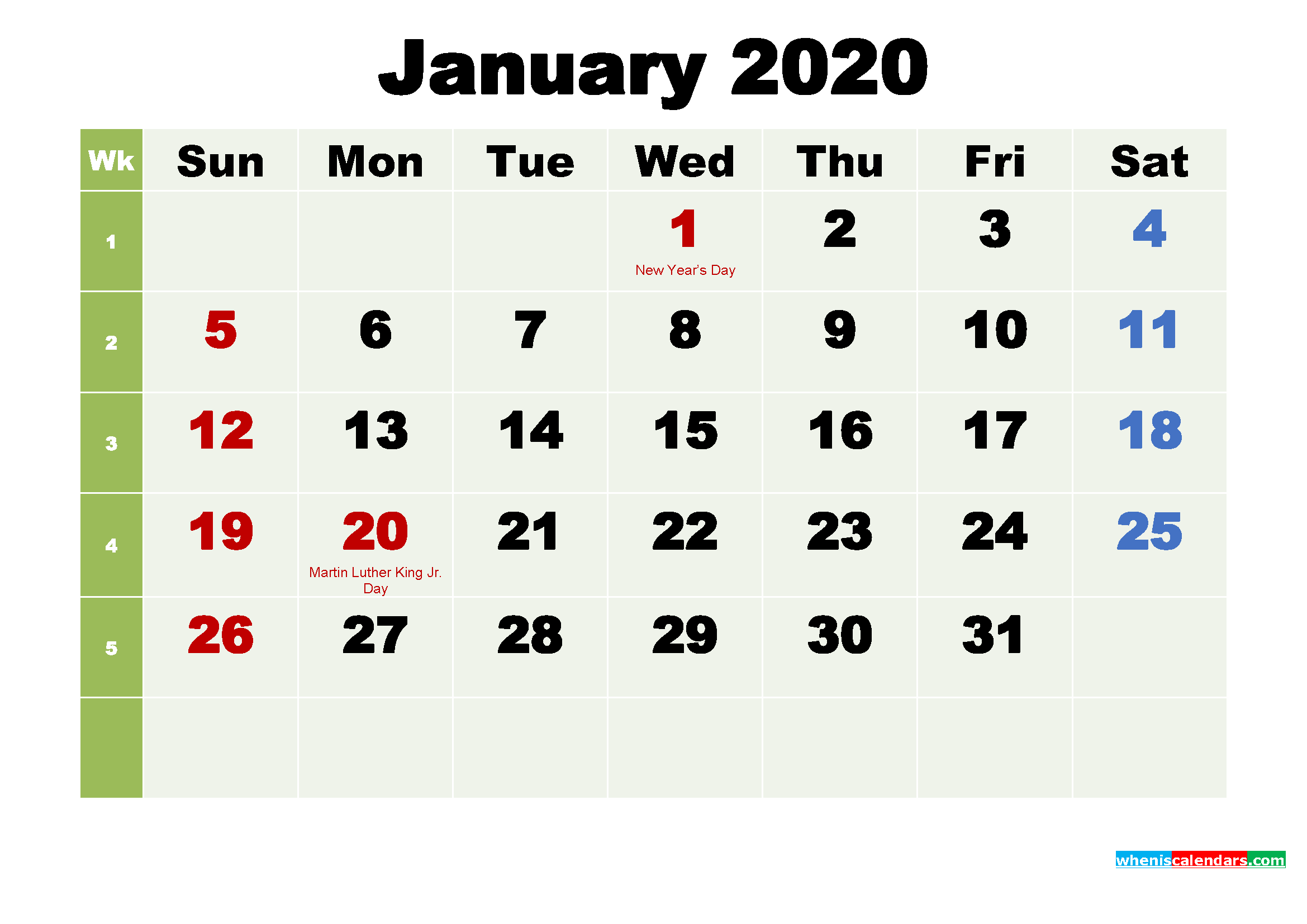 Free January 2020 Desktop Calendar High Resolution