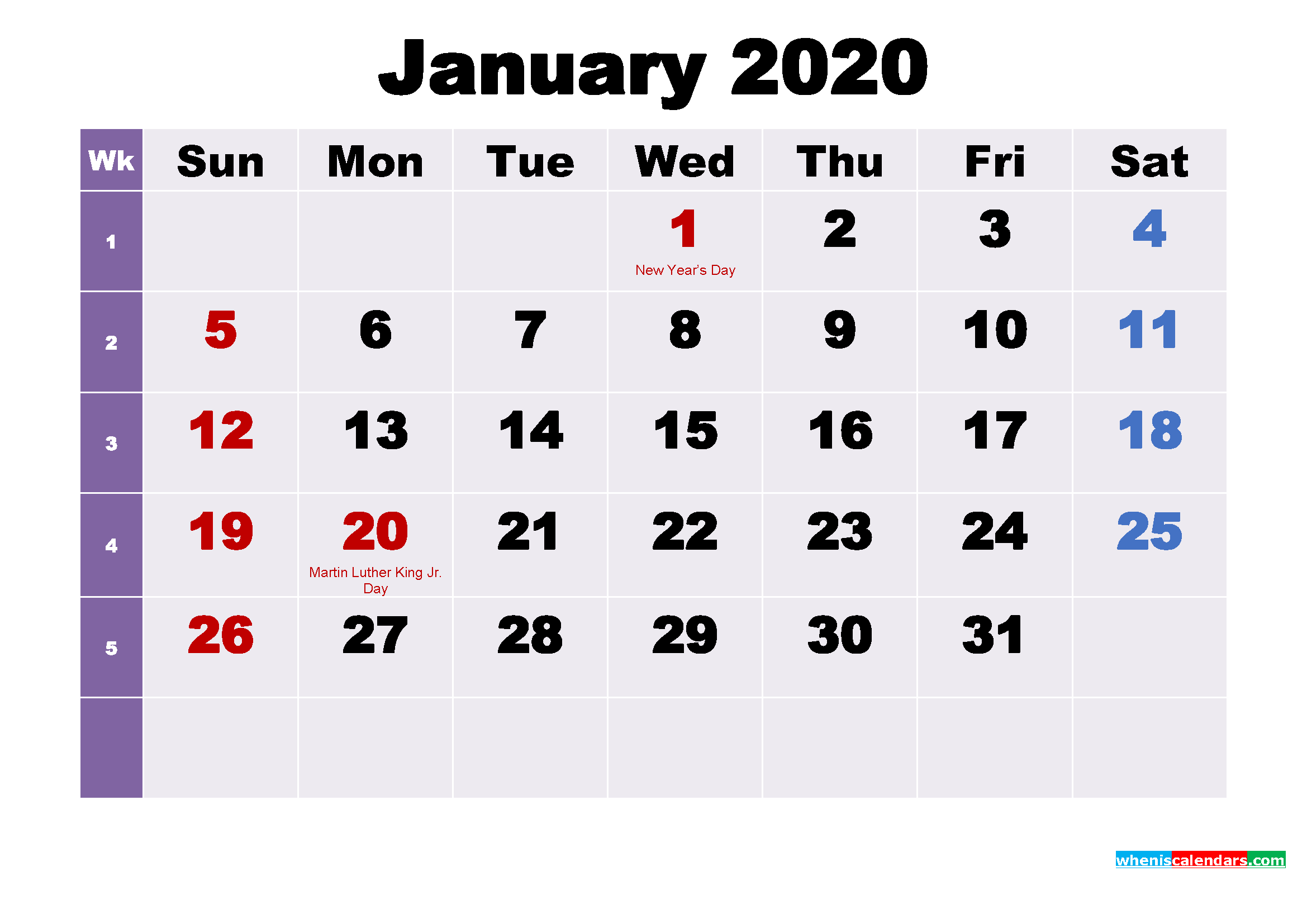 January 2020 Desktop Calendar Free Download