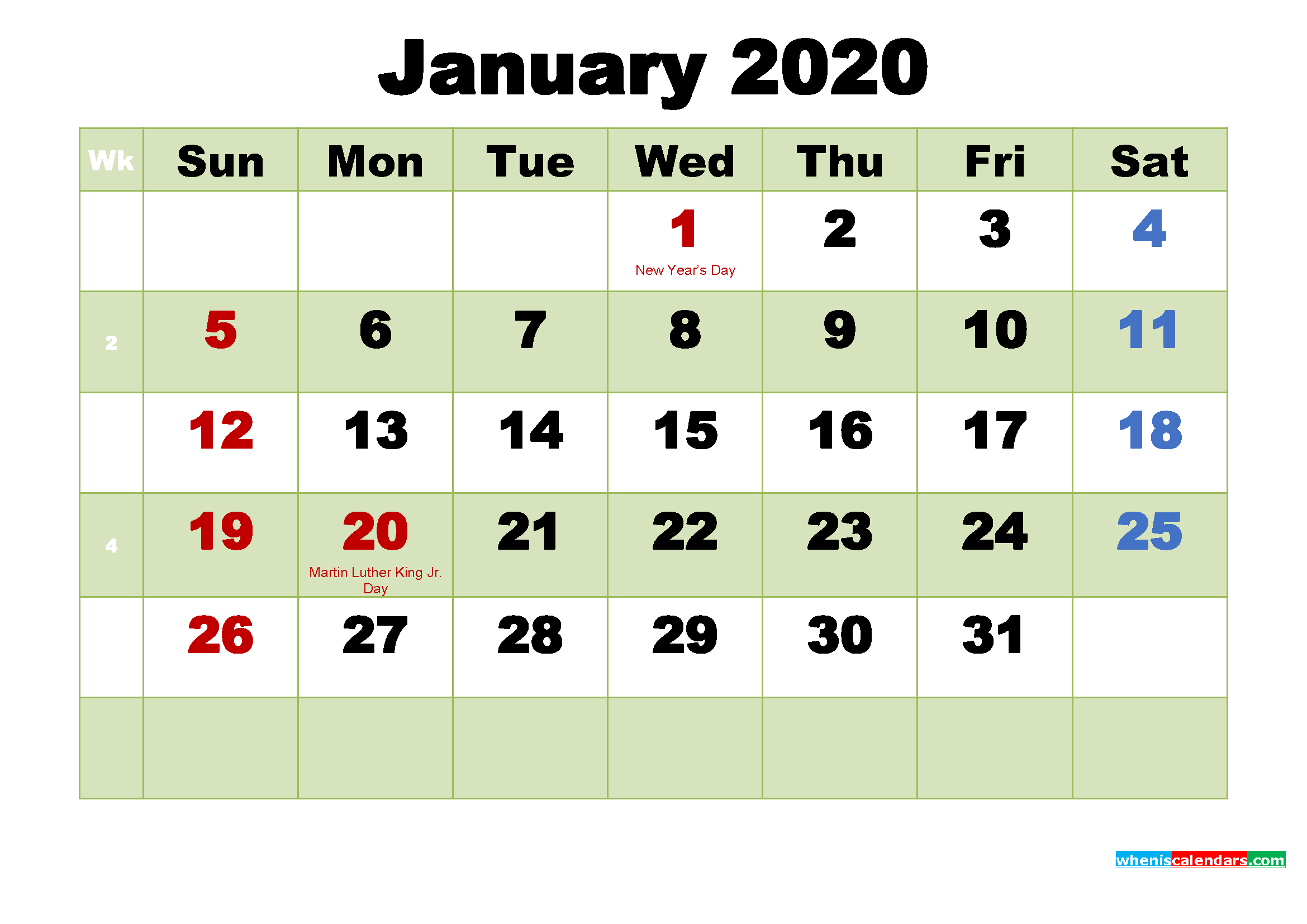 Printable 2020 Calendar by Month January