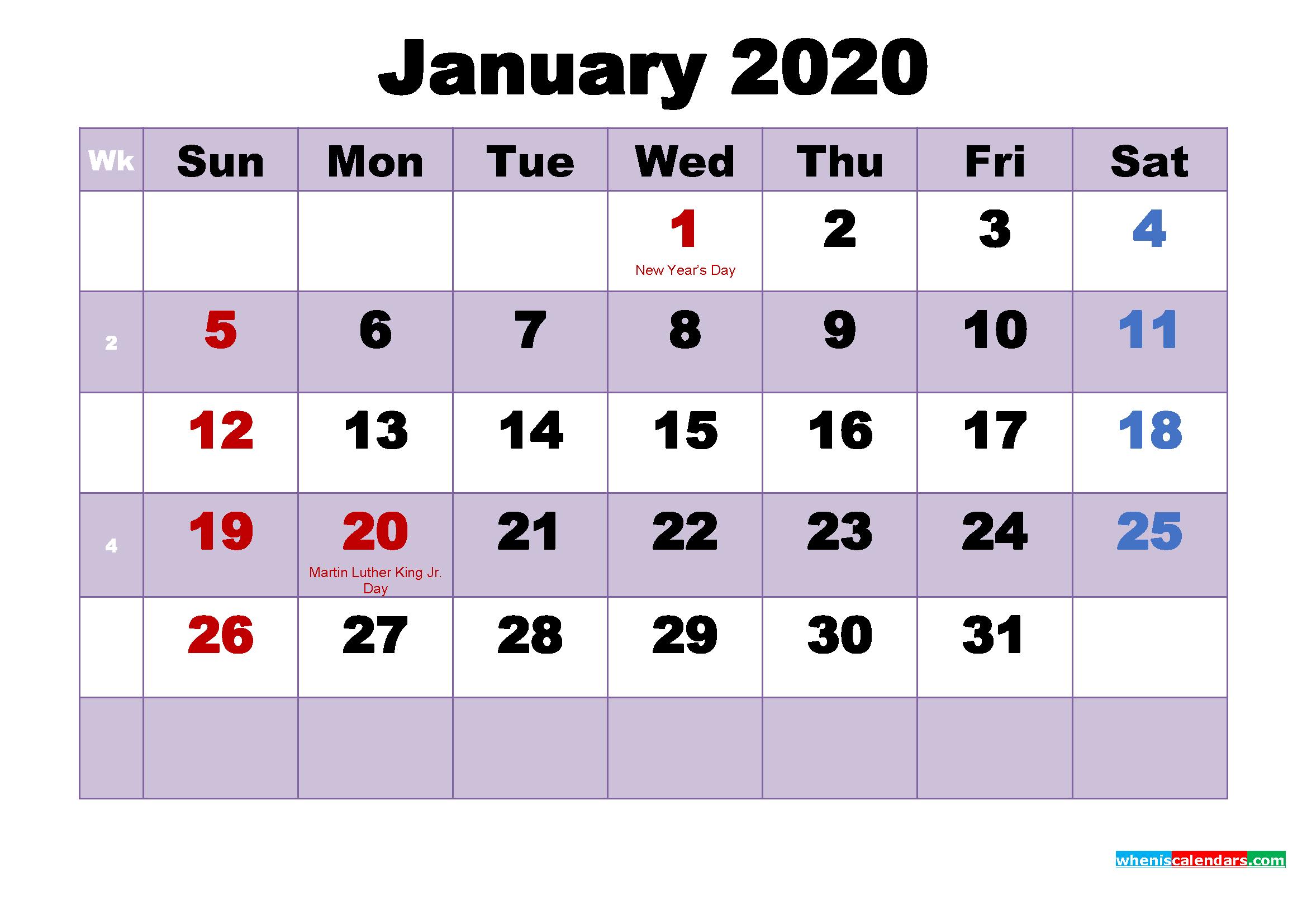 January 2020 Calendar Wallpaper Free Download