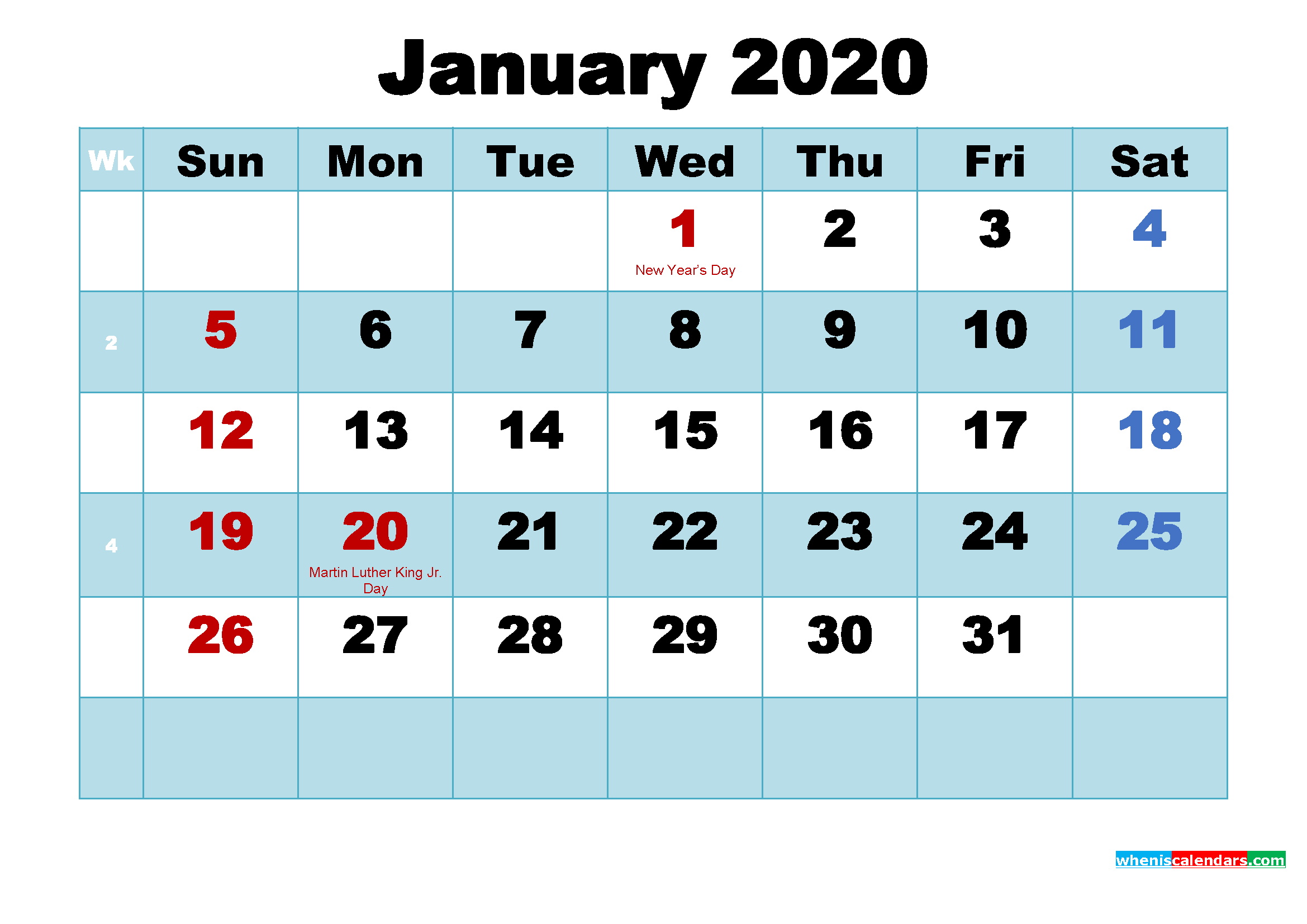 January 2020 Free Printable Calendar with Holidays
