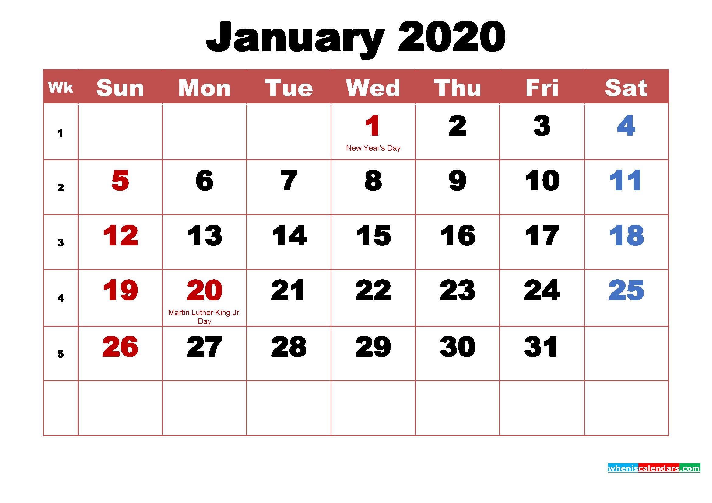 Printable 2020 Calendar with Holidays January