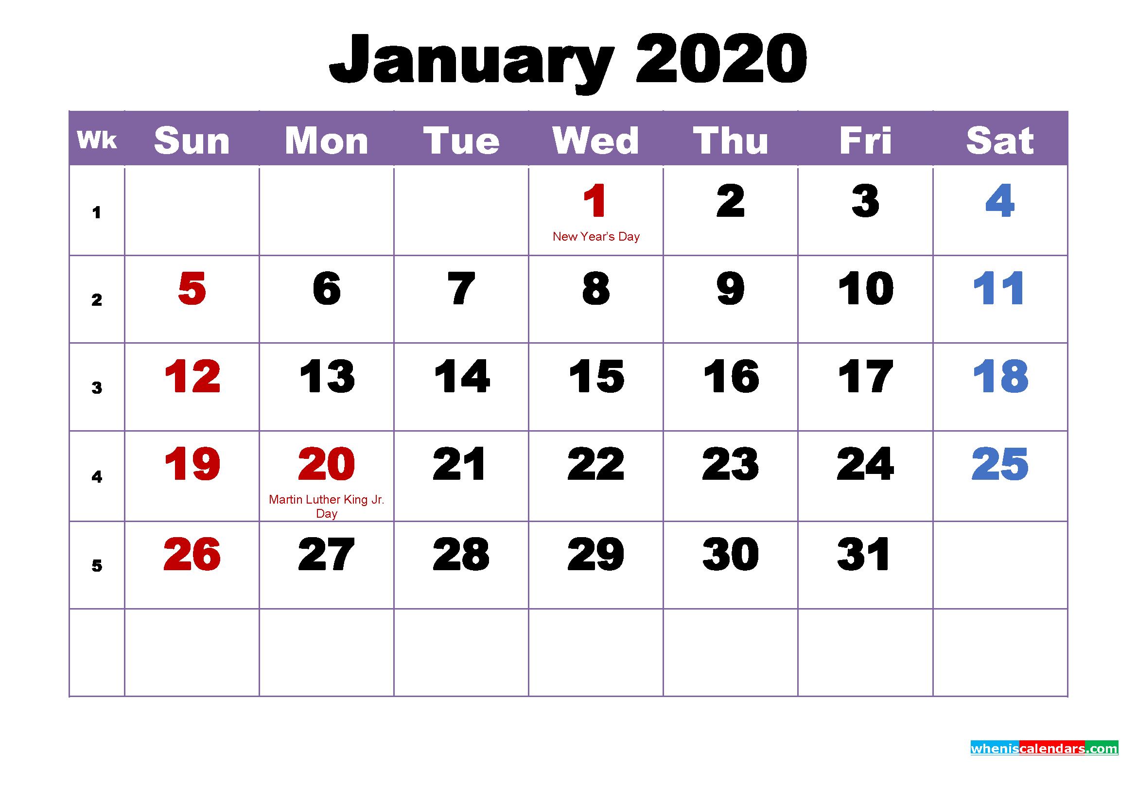 January 2020 Desktop Calendar Monthly