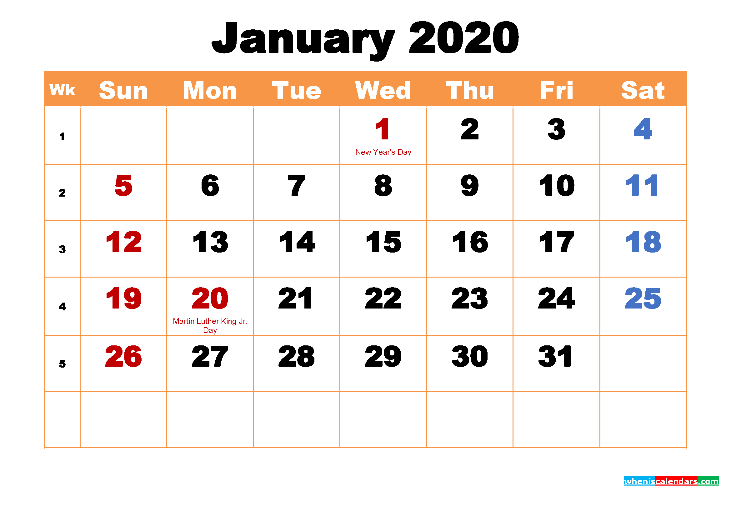January 2020 Printable Monthly Calendar with Holidays