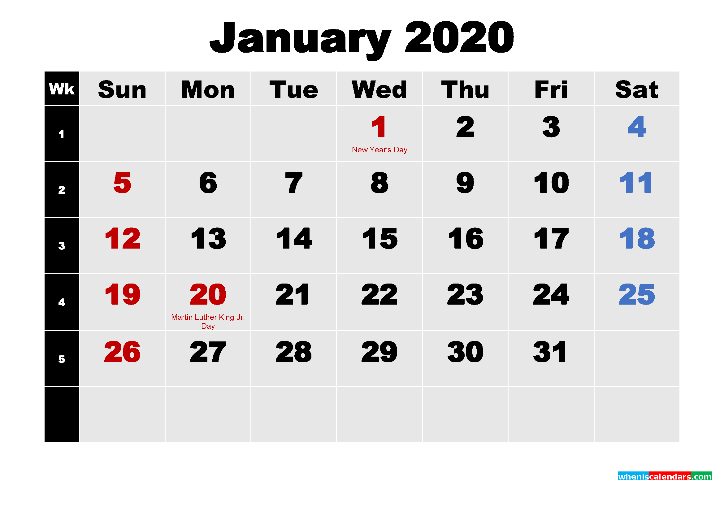 January 2020 Calendar With Holidays Wallpaper Free Printable