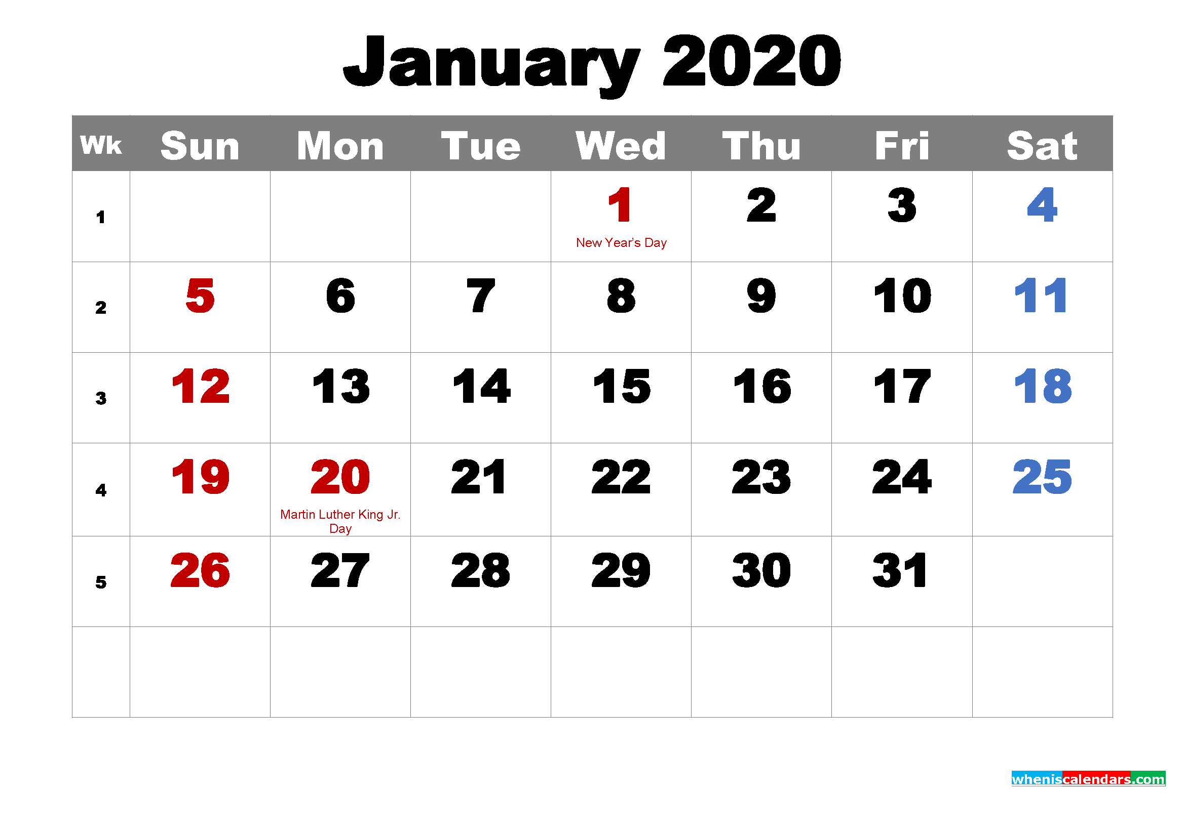 Free Printable January 2020 Calendar Wallpaper
