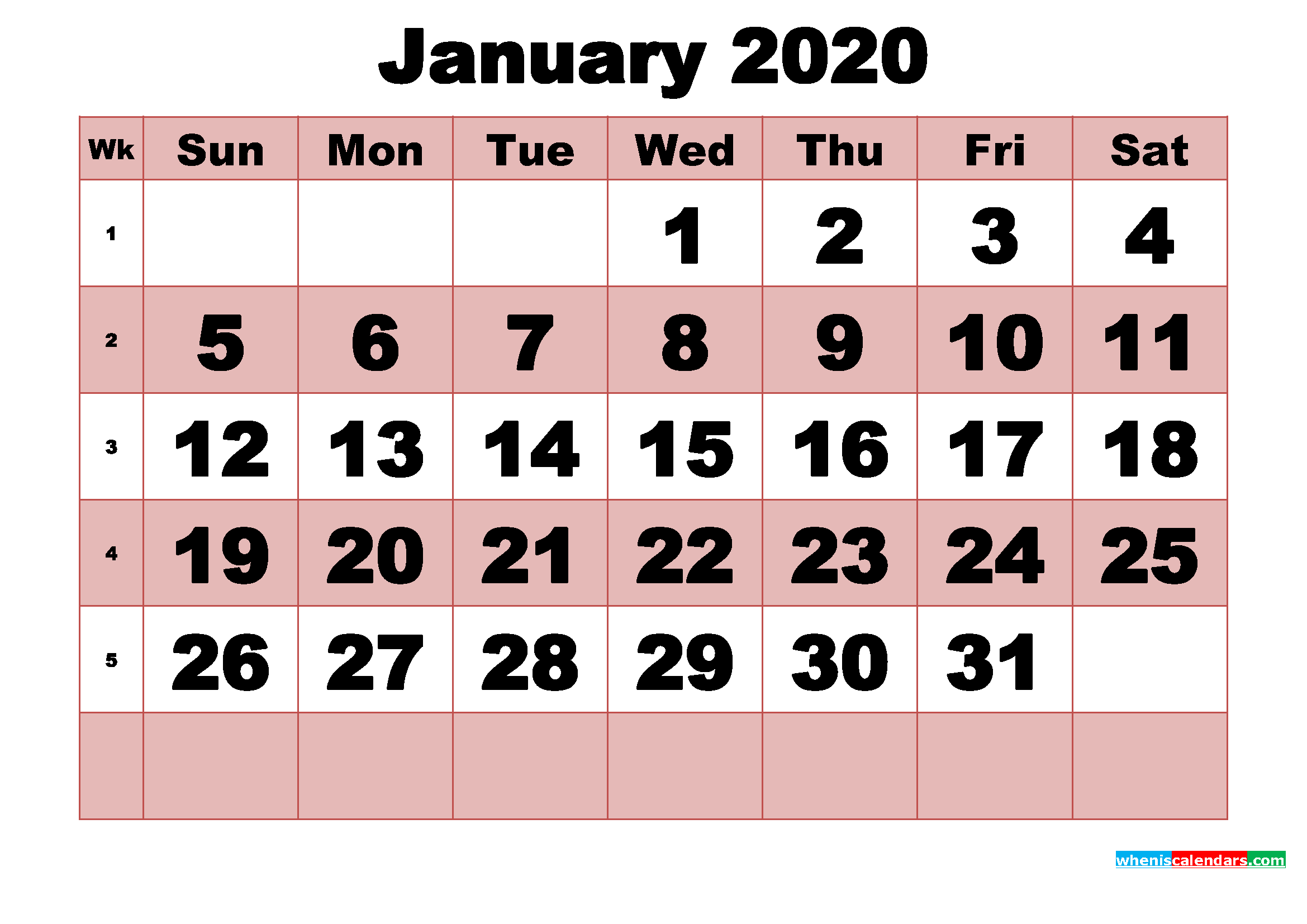 Free Printable Monthly Calendar January 2020