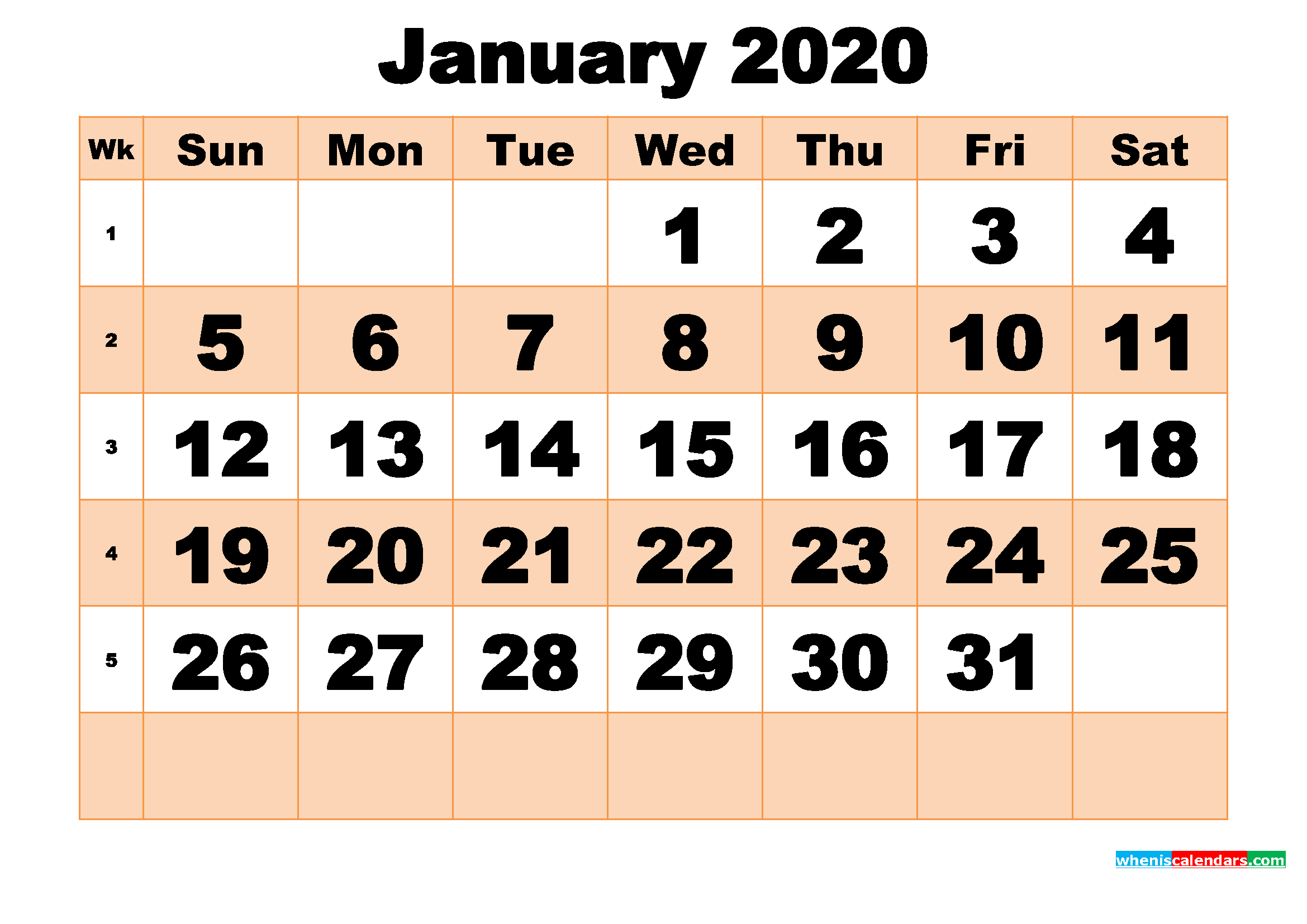 Free Printable January 2020 Calendar Template Word, PDF