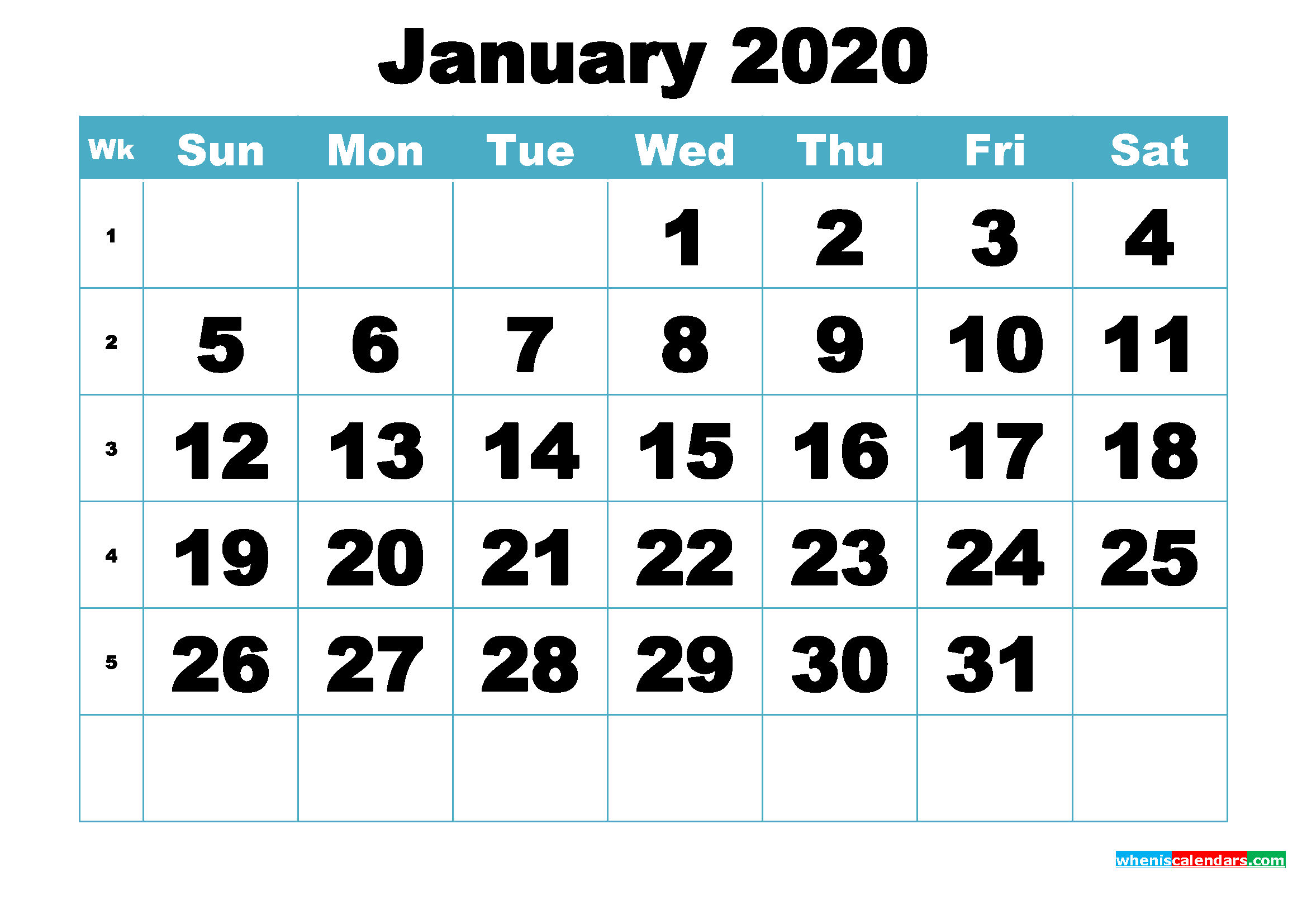 Free January 2020 Printable Monthly Calendar Template