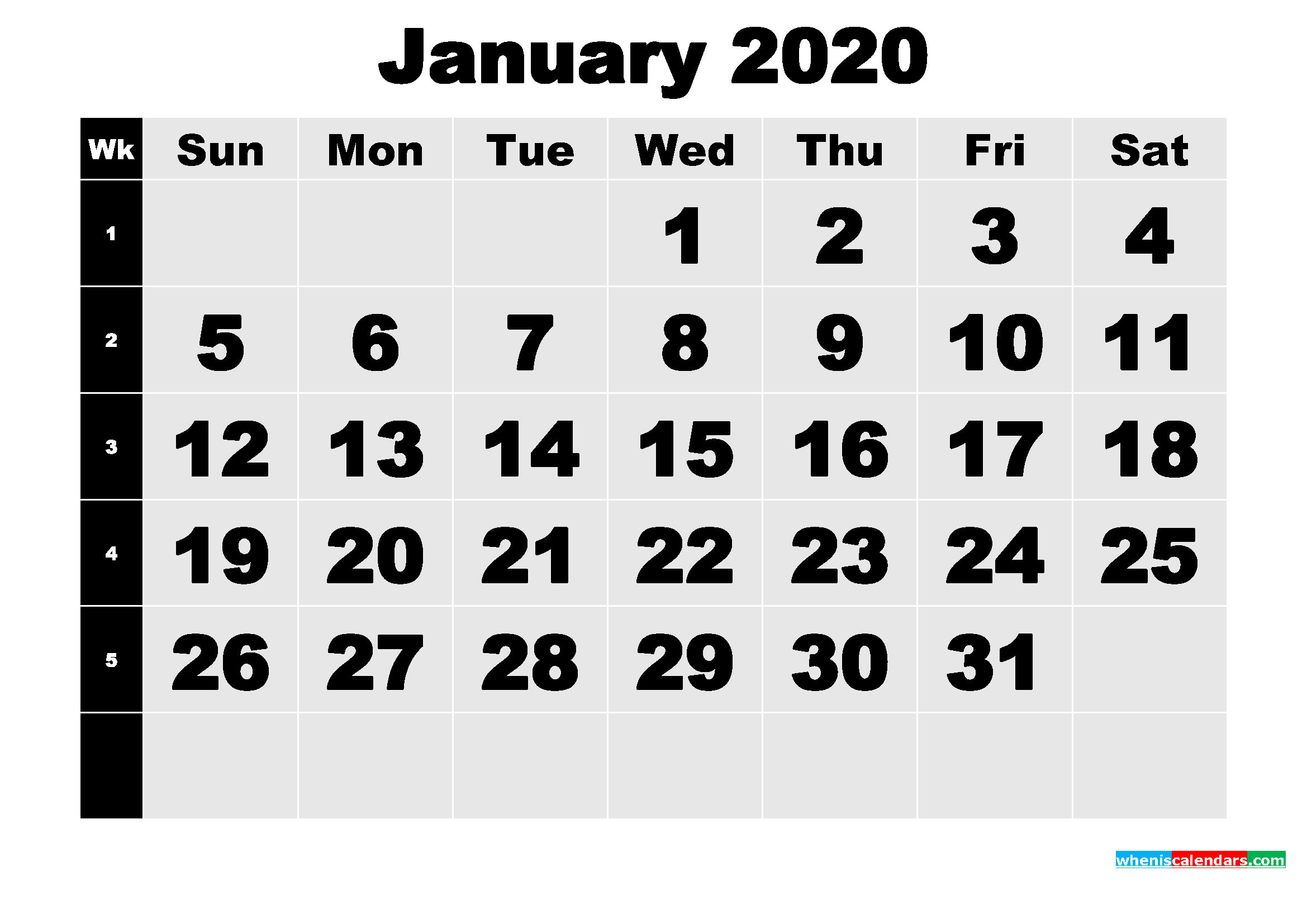 Free Printable January 2020 Calendar with Week Numbers