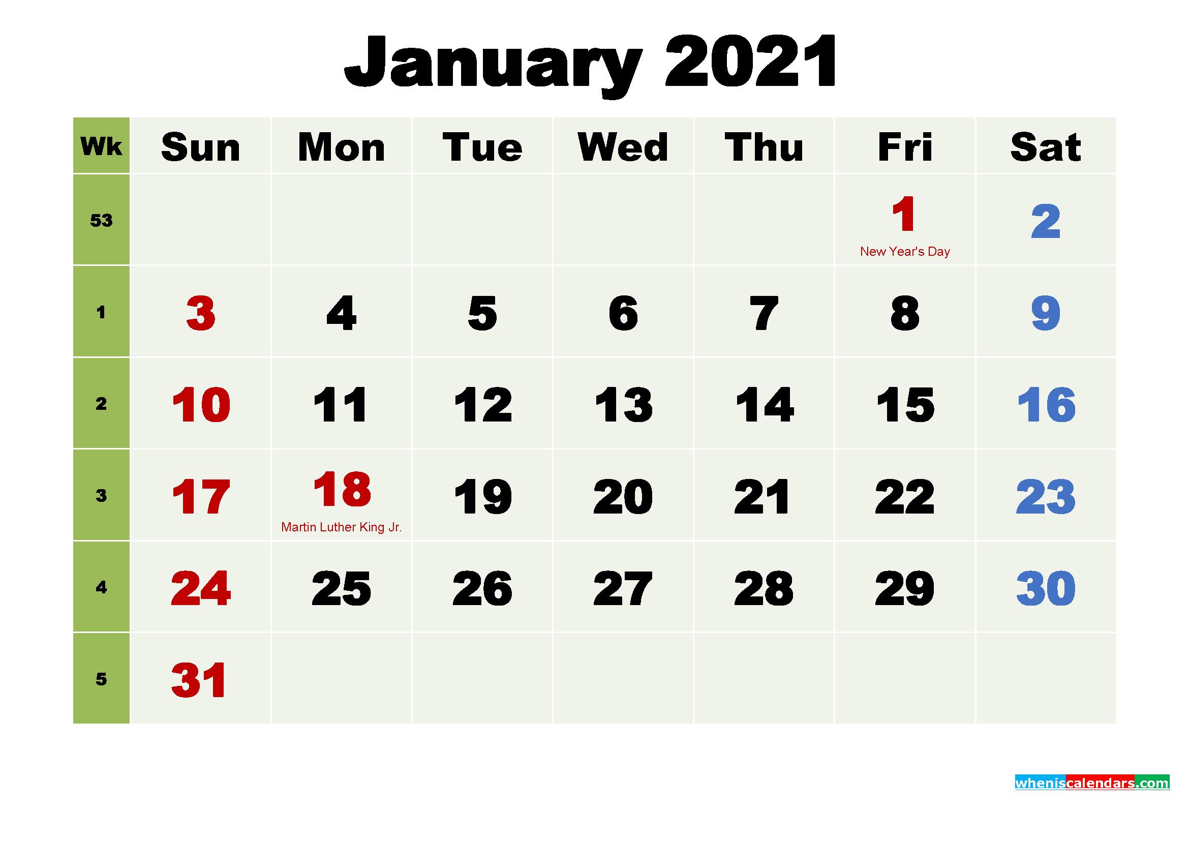 Printable Calendar January 2021 with Holidays as Word, PDF