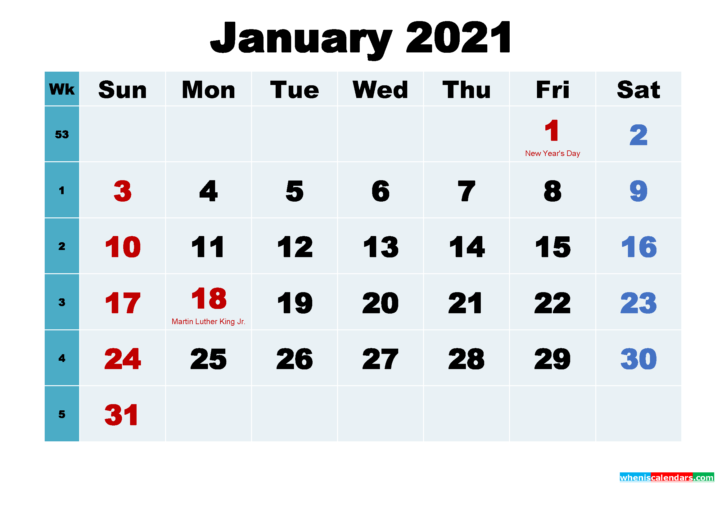 Printable 2021 Calendar with Holidays January