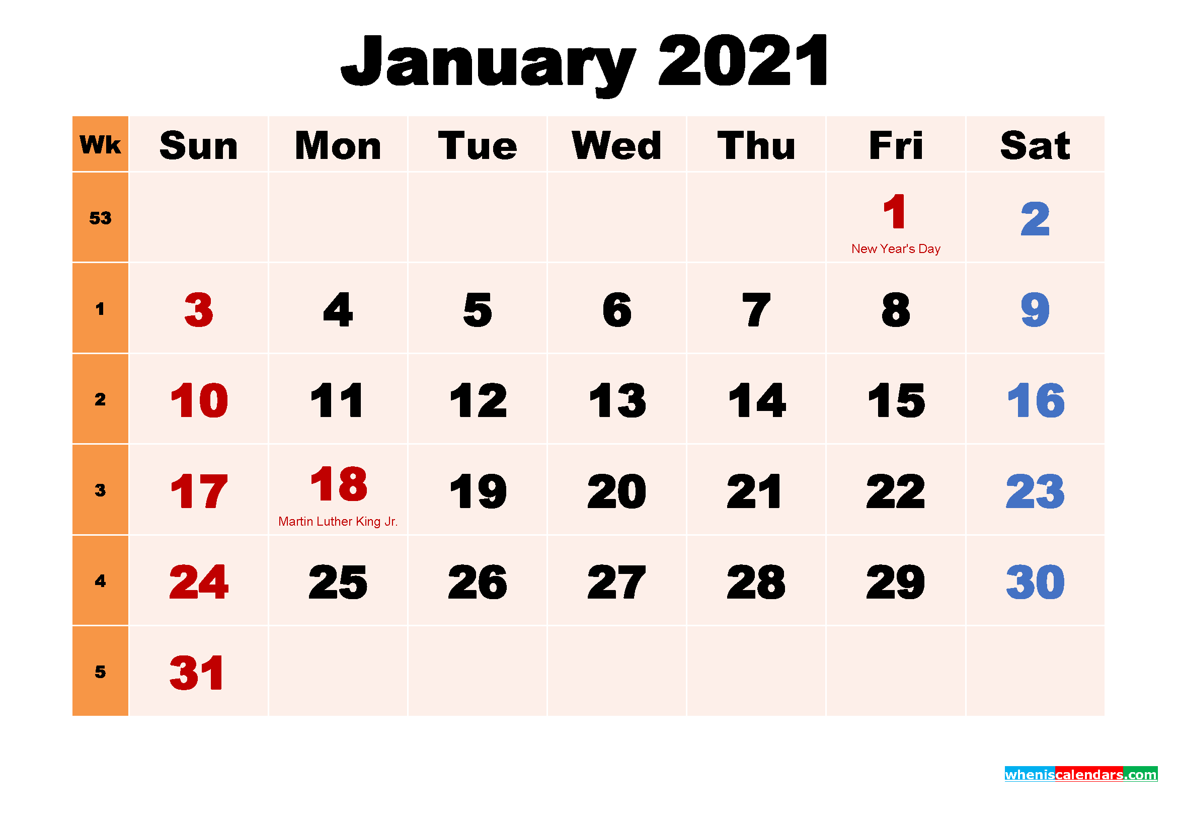 Free Printable 2021 Calendar with Holidays January