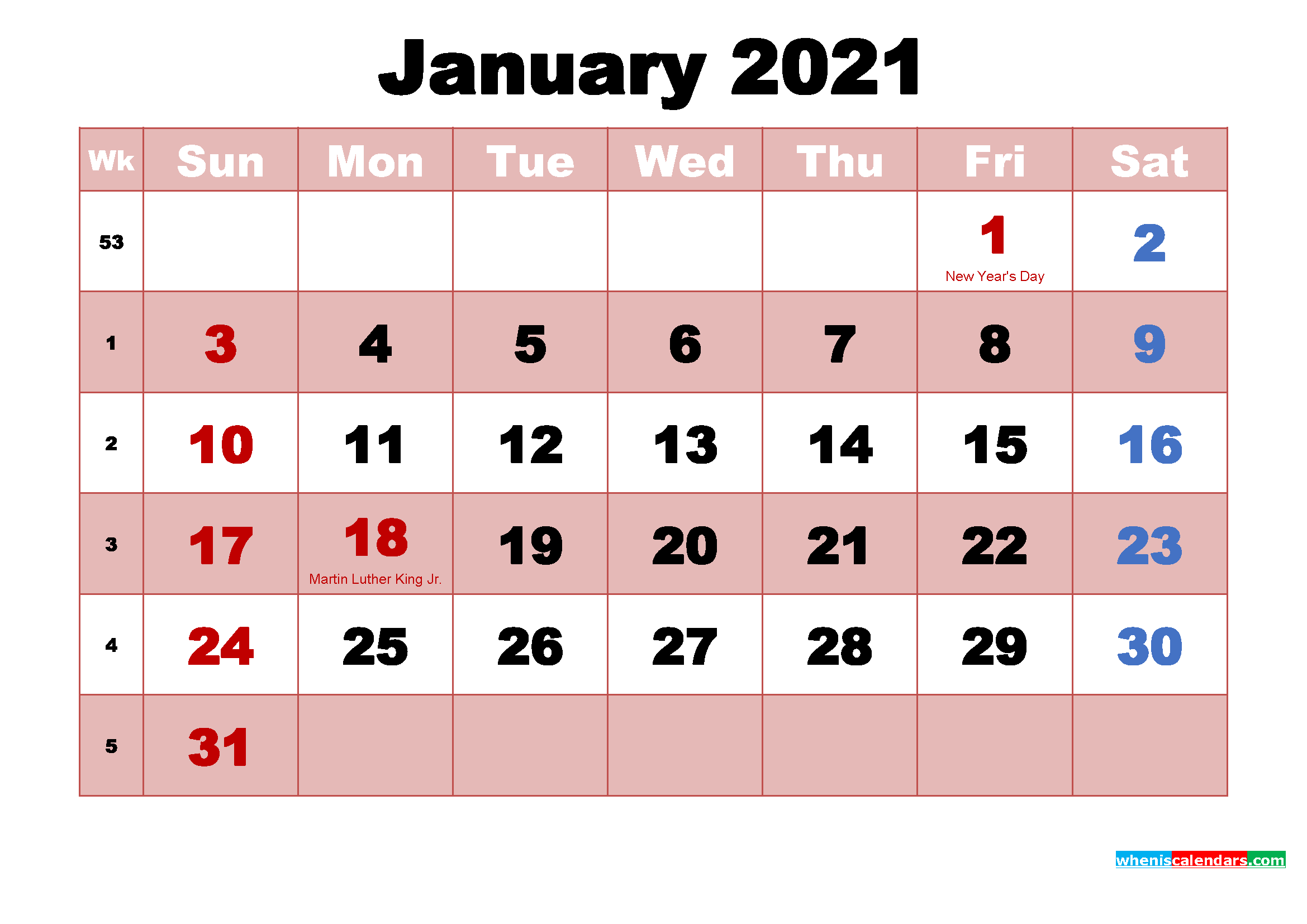 Printable January 2021 Calendar by Month