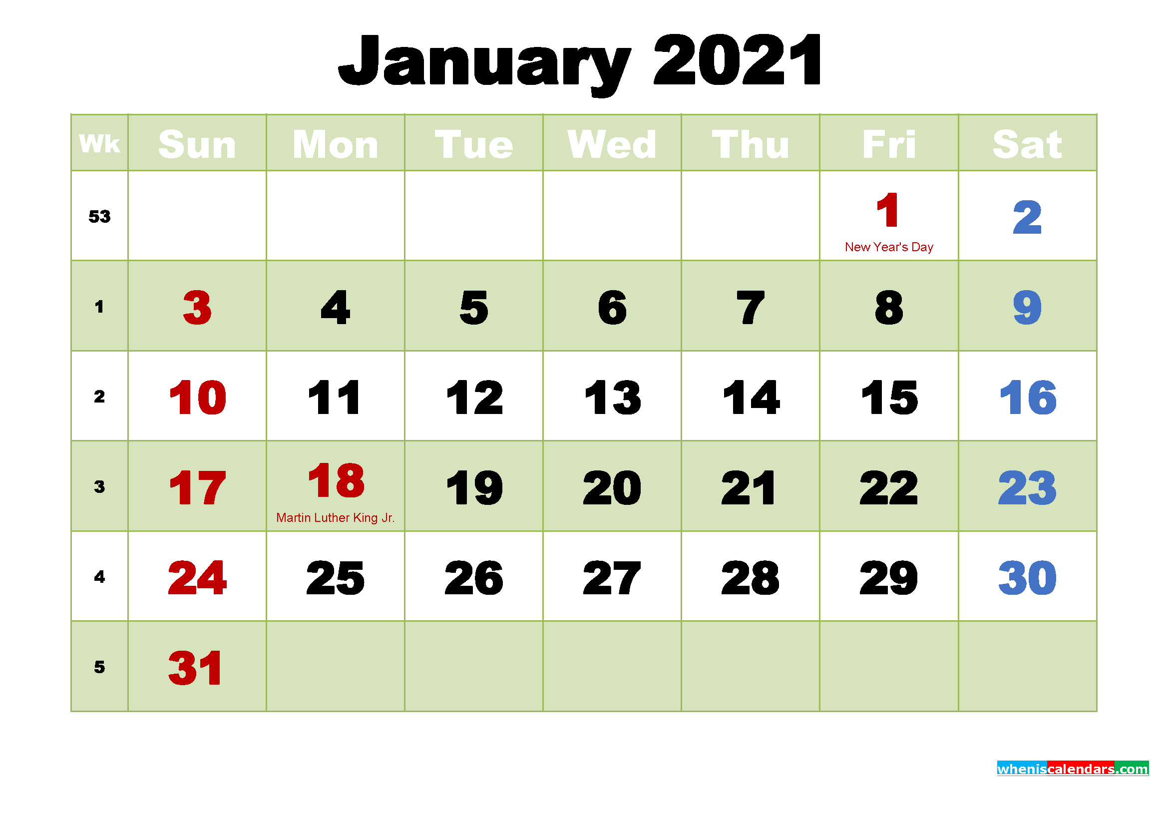 Printable 2021 Calendar by Month January