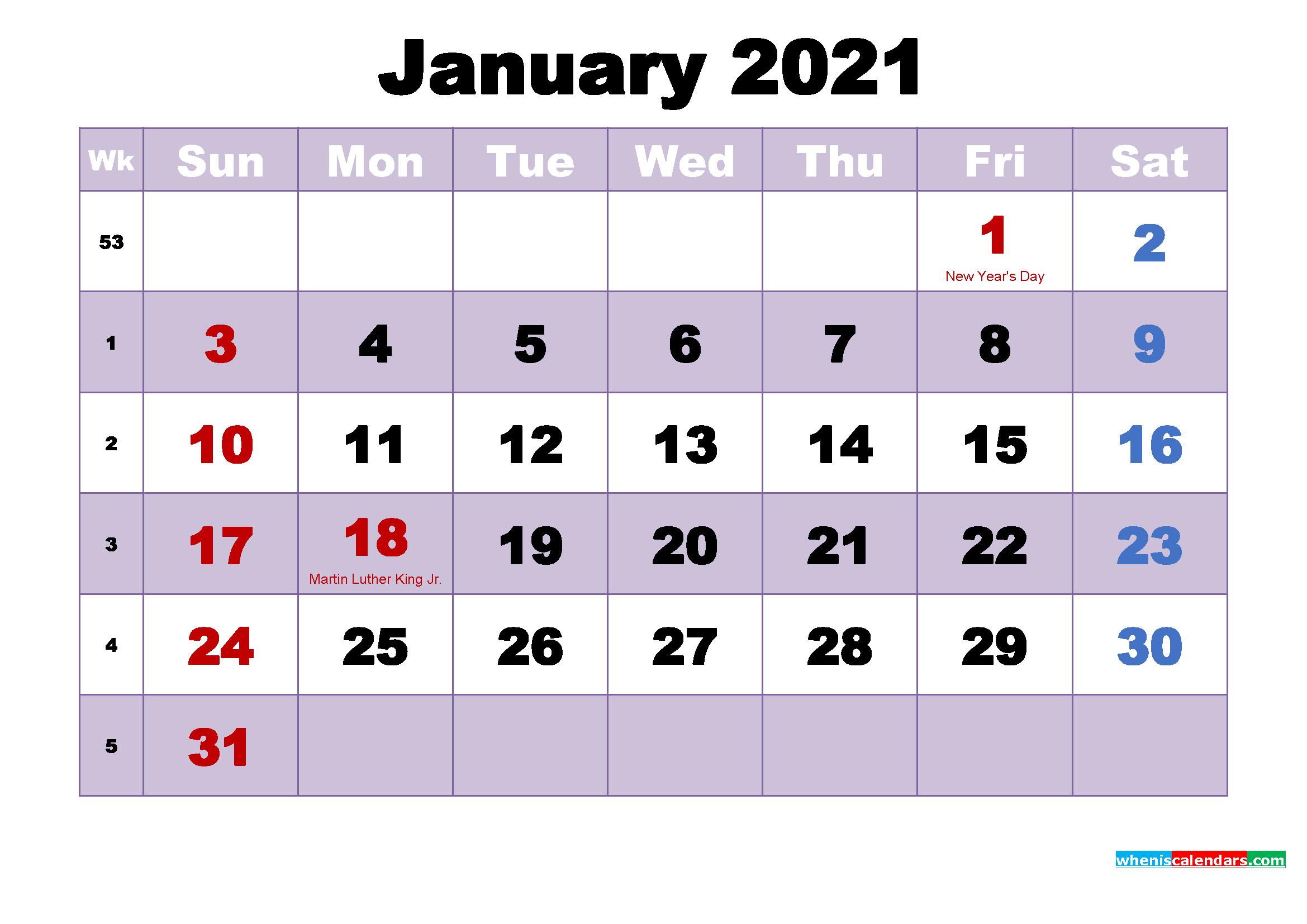 Free Printable January 2021 Calendar Word
