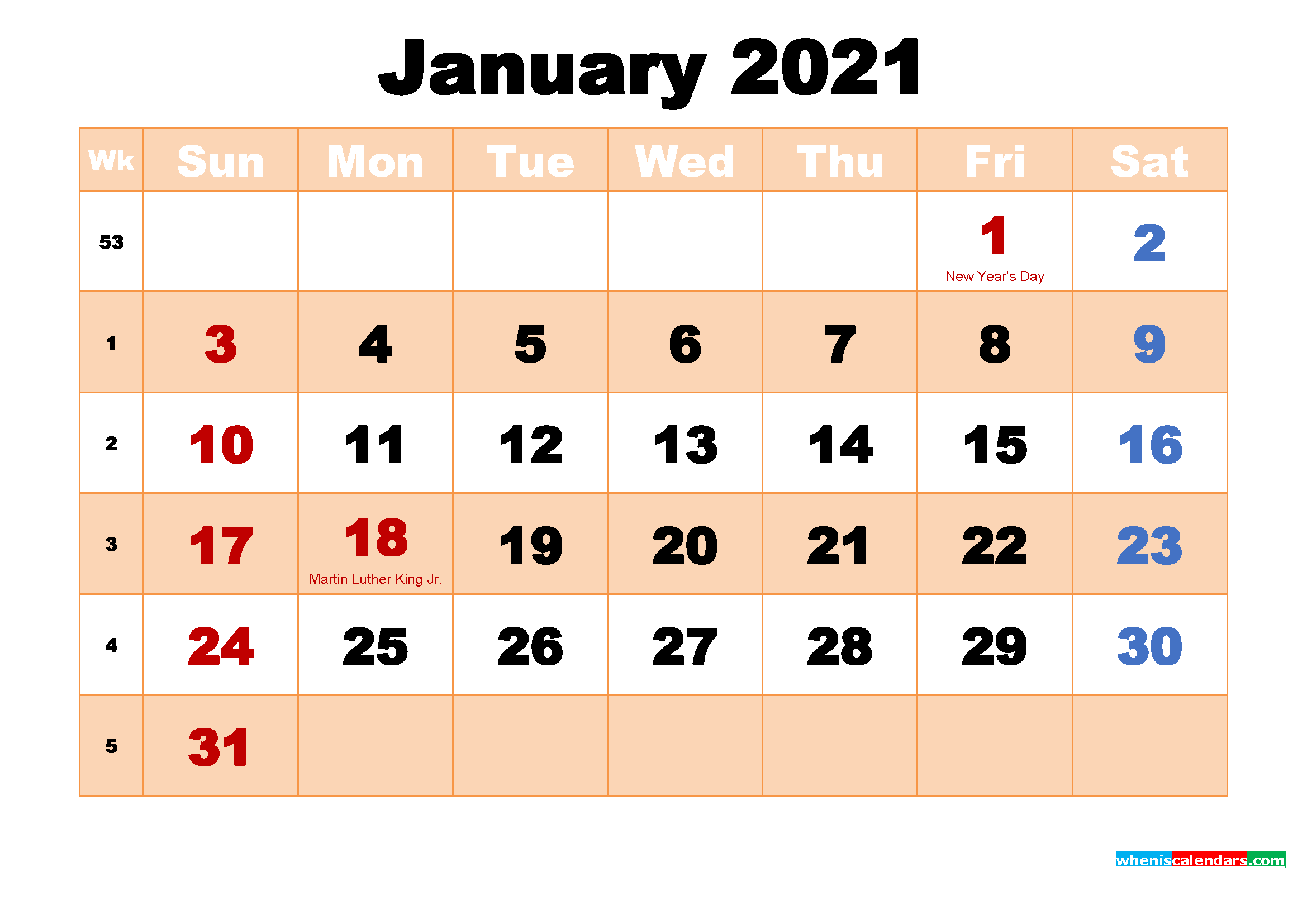 January 2021 Printable Calendar with Holidays