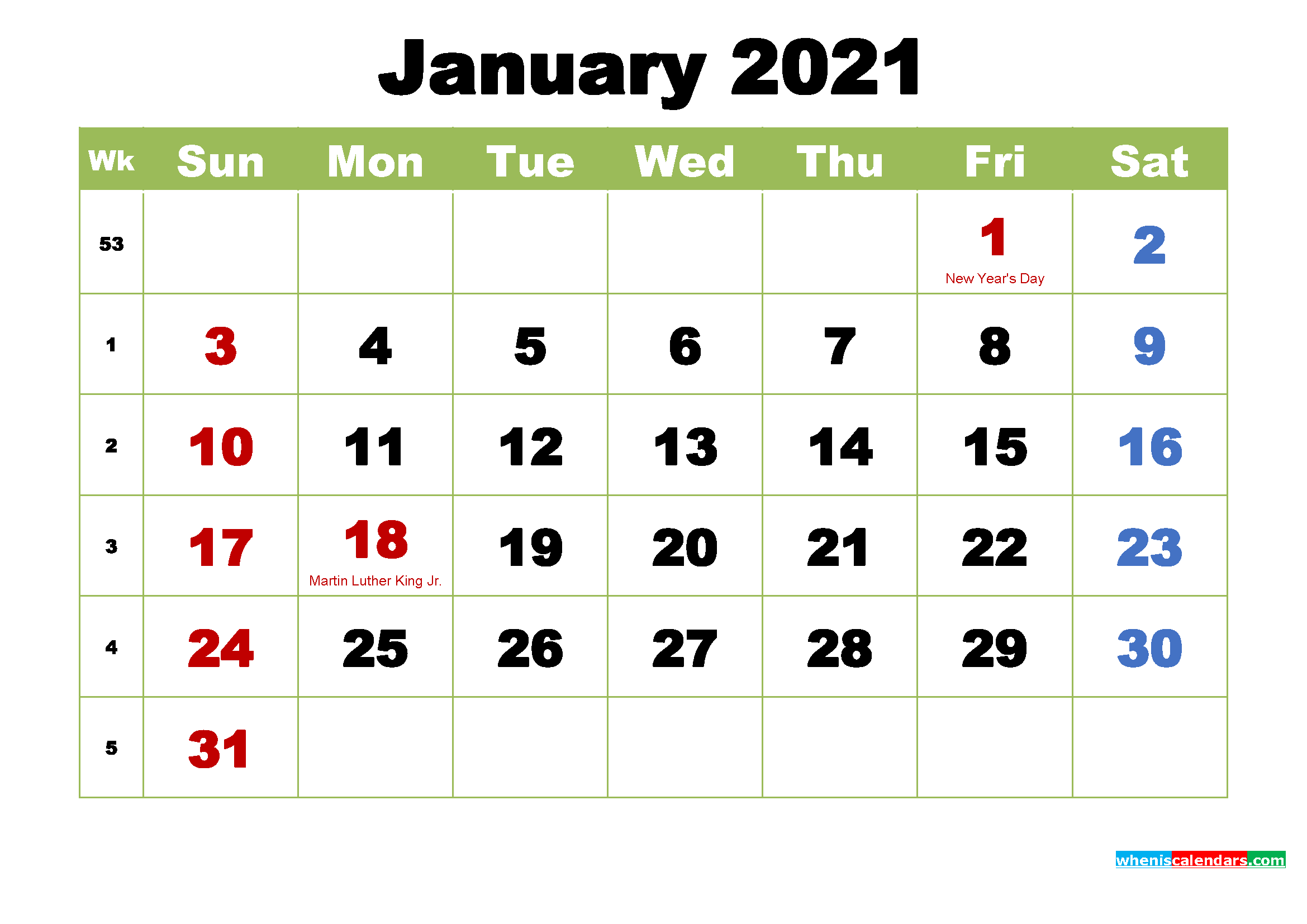 January 2021 Calendar with Holidays Wallpaper