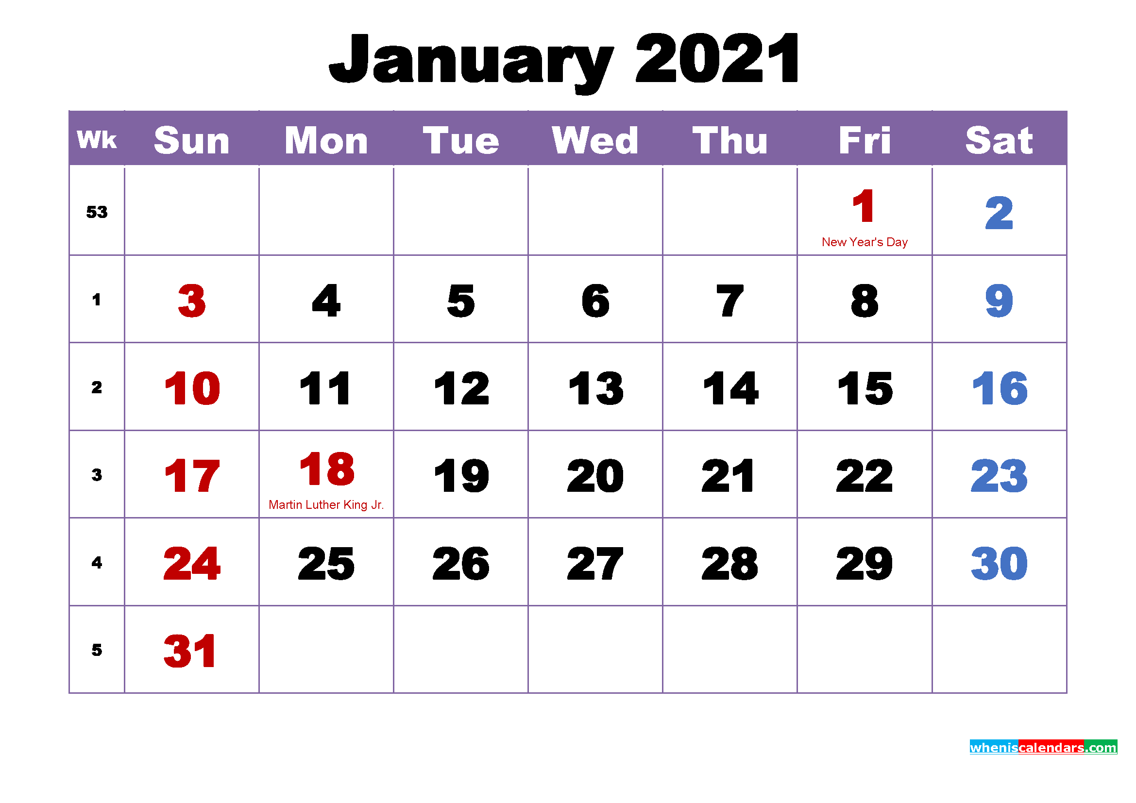 January 2021 Printable Calendar with Holidays Word, PDF ...