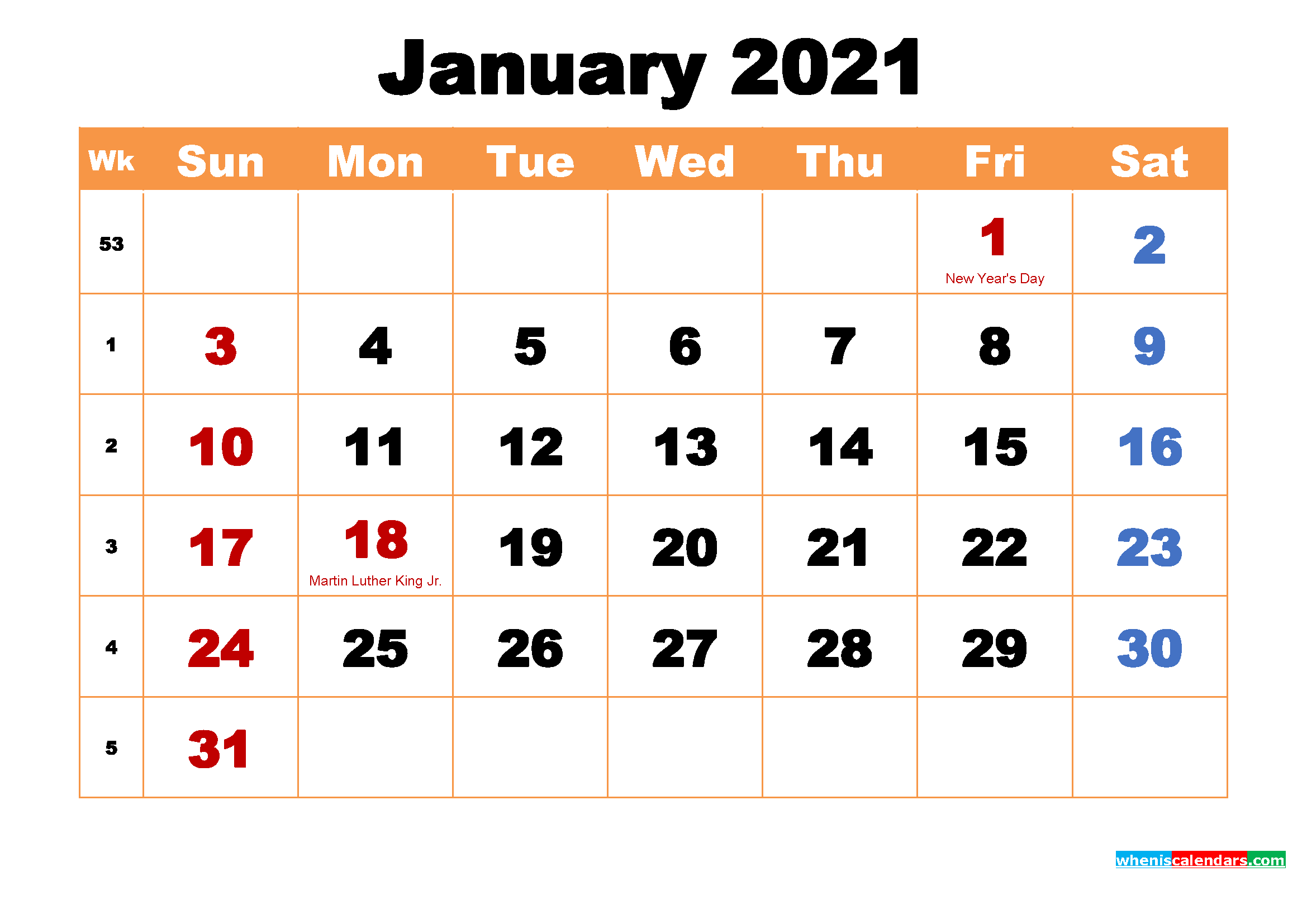 January 2021 Calendar Wallpaper High Resolution