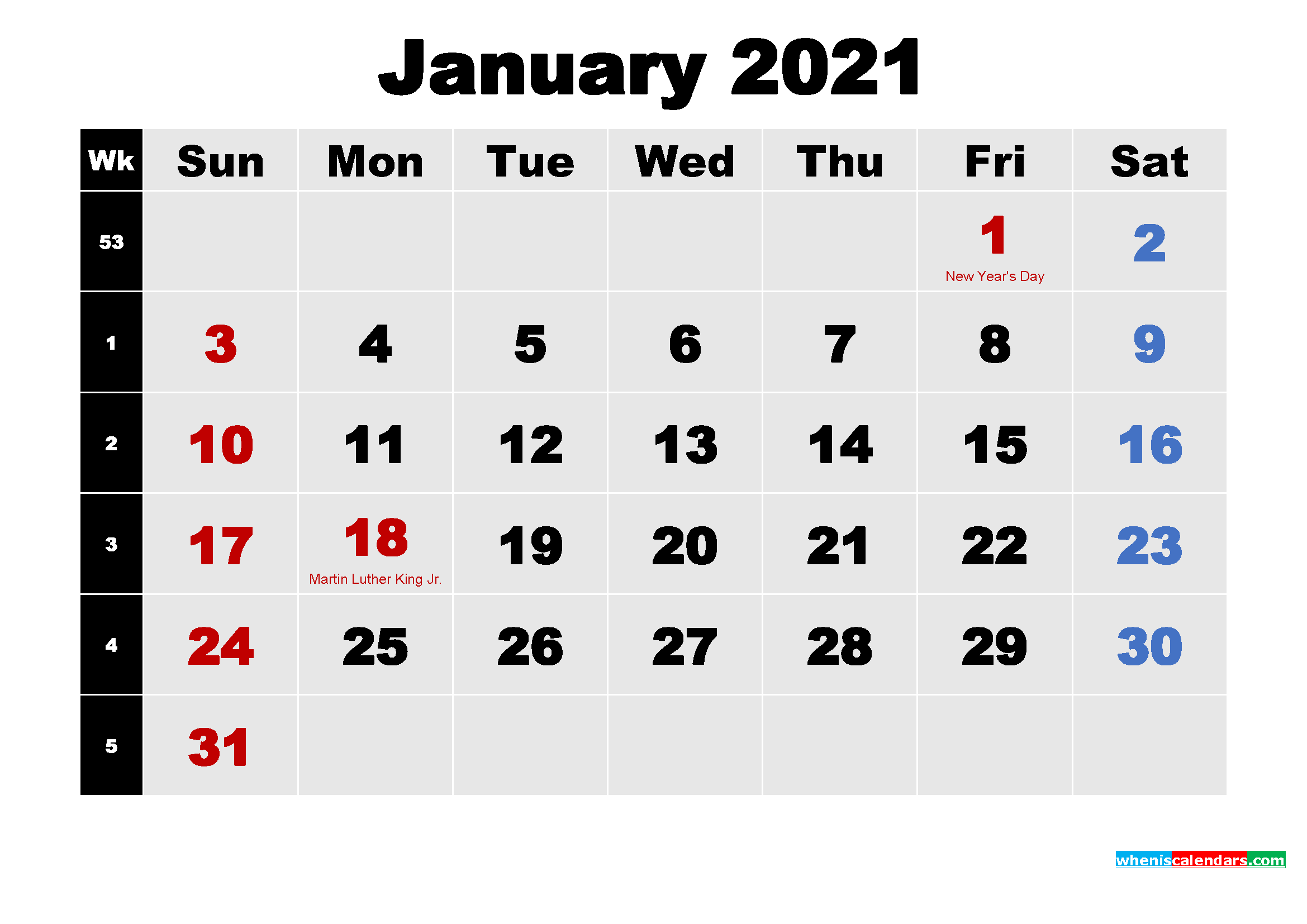 Free January 2021 Printable Calendar Template Word, PDF