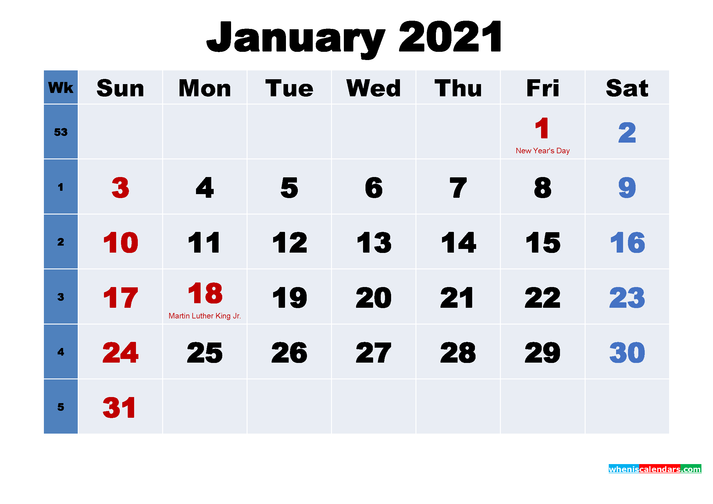 January 2021 Desktop Calendar with Holidays