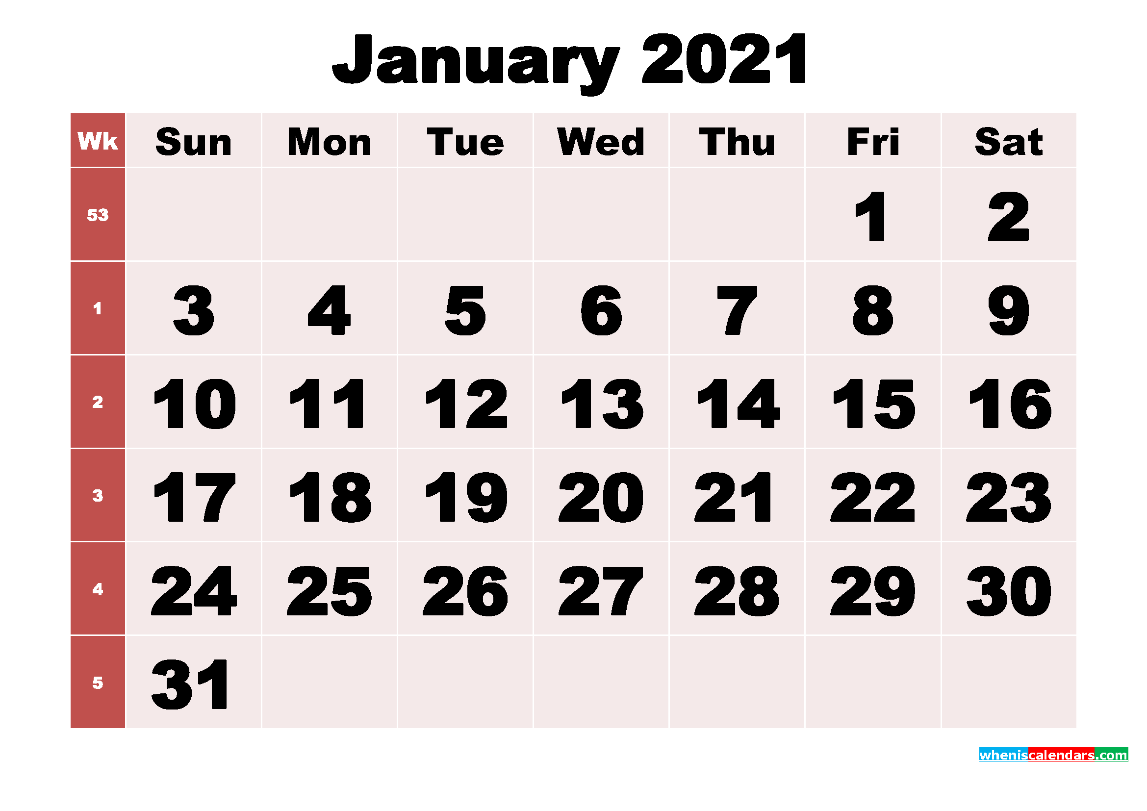 Free Printable Monthly Calendar January 2021